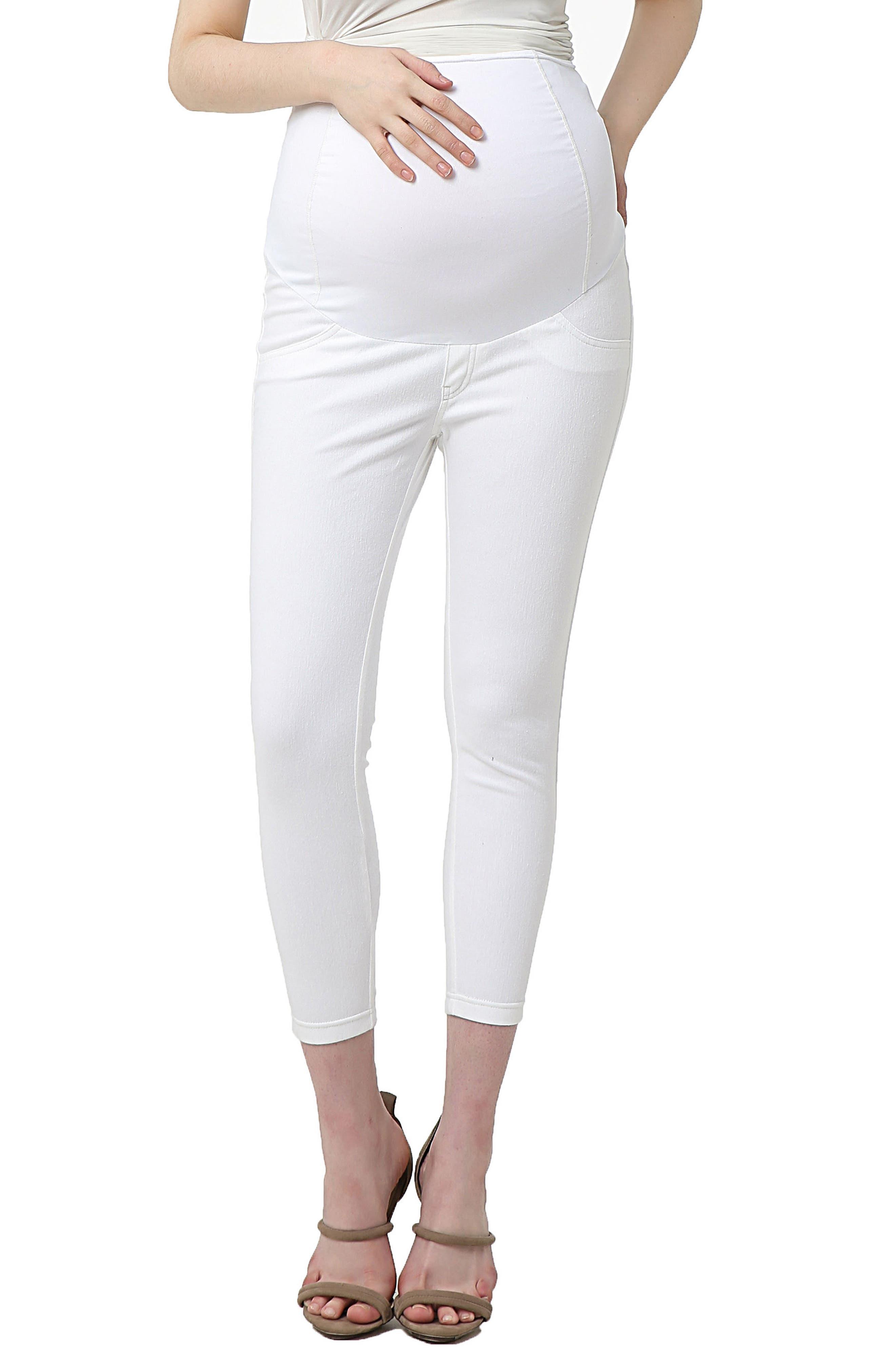 Tia Cropped Denim Maternity Leggings,                         Main,                         color, WHITE