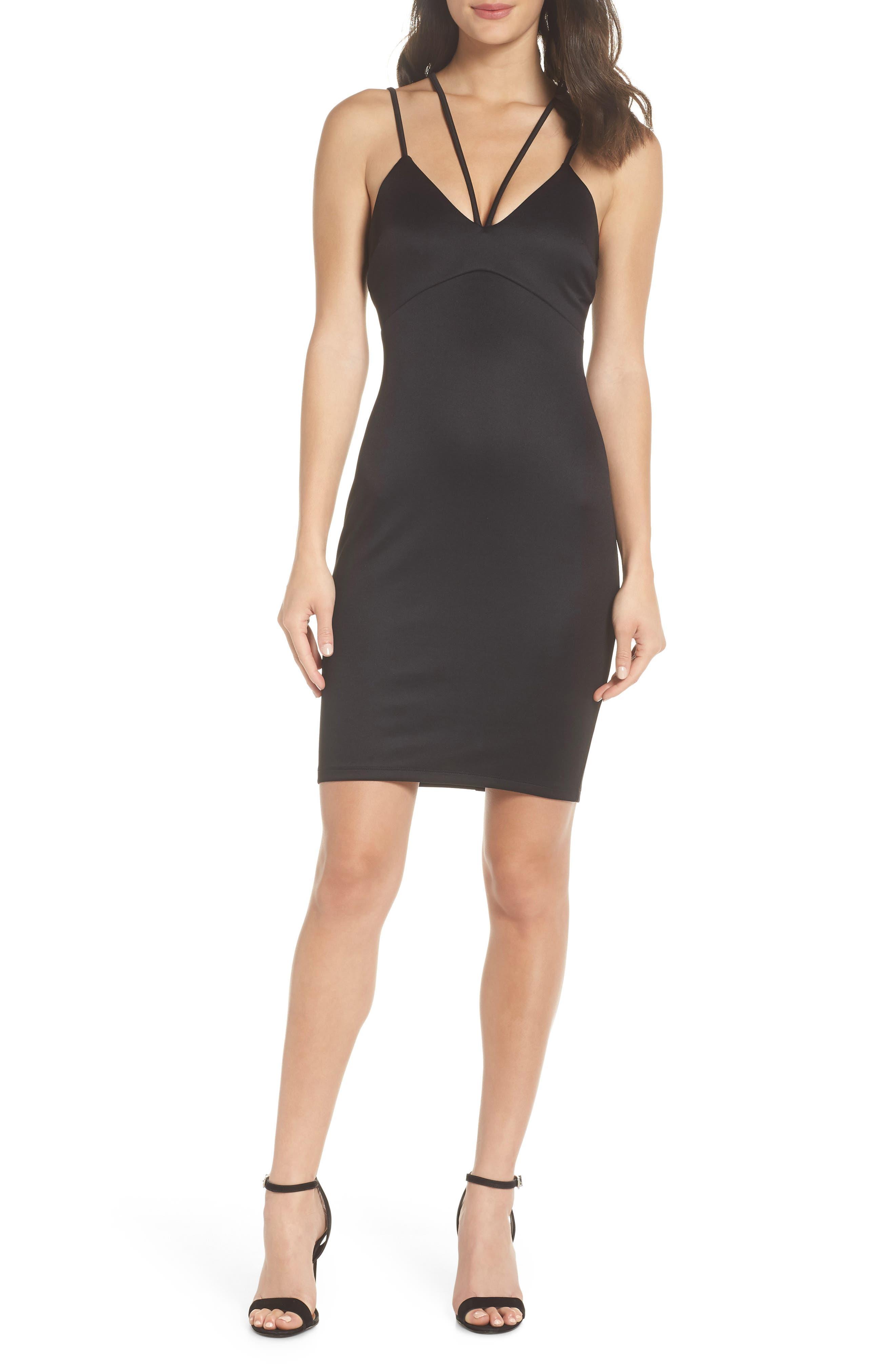 Double Strap Scuba Body-Con Dress,                         Main,                         color, BLACK