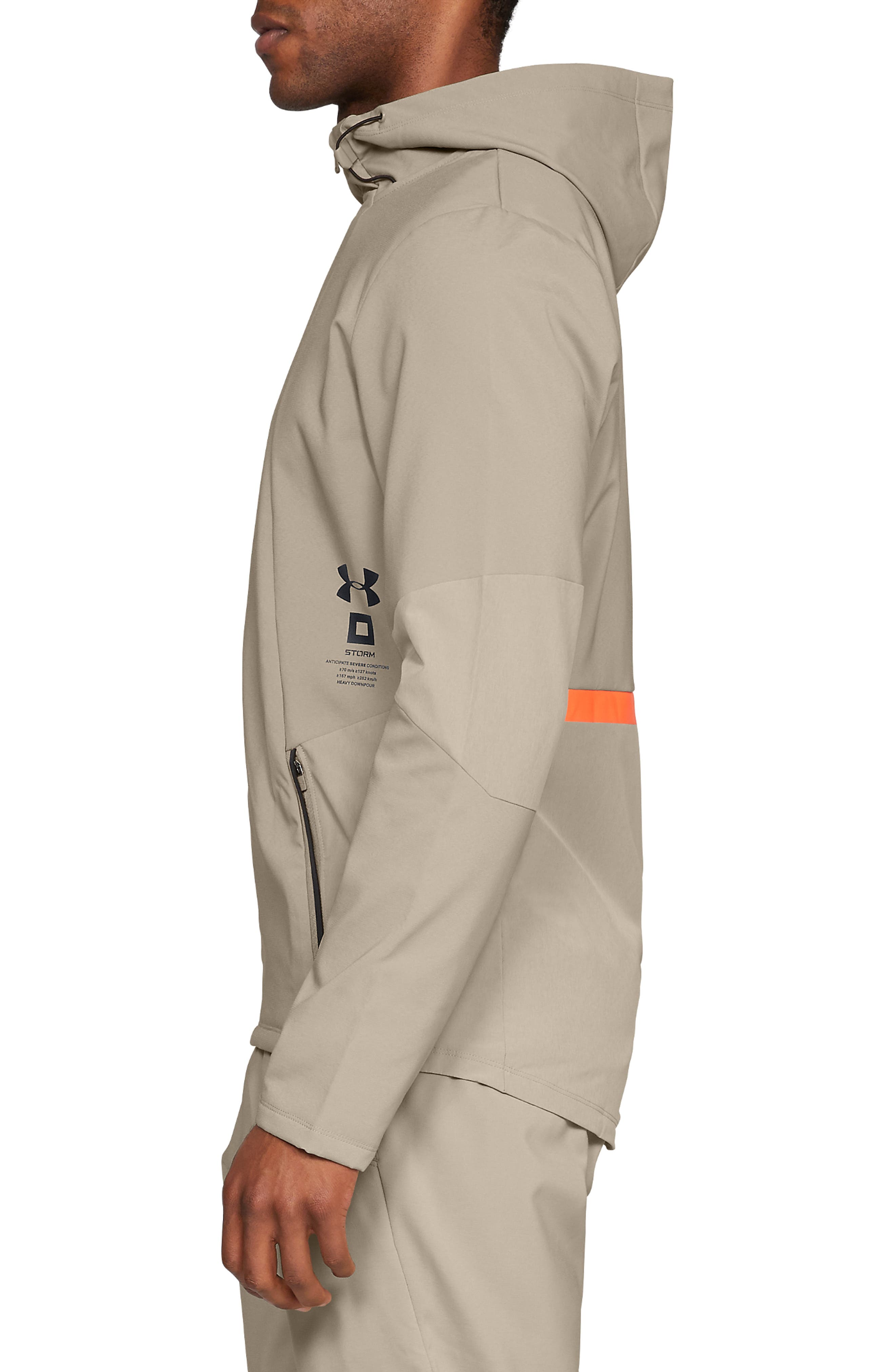 Storm Cyclone Water Repellent Hooded Jacket,                             Alternate thumbnail 3, color,                             CITY KHAKI/ BLACK