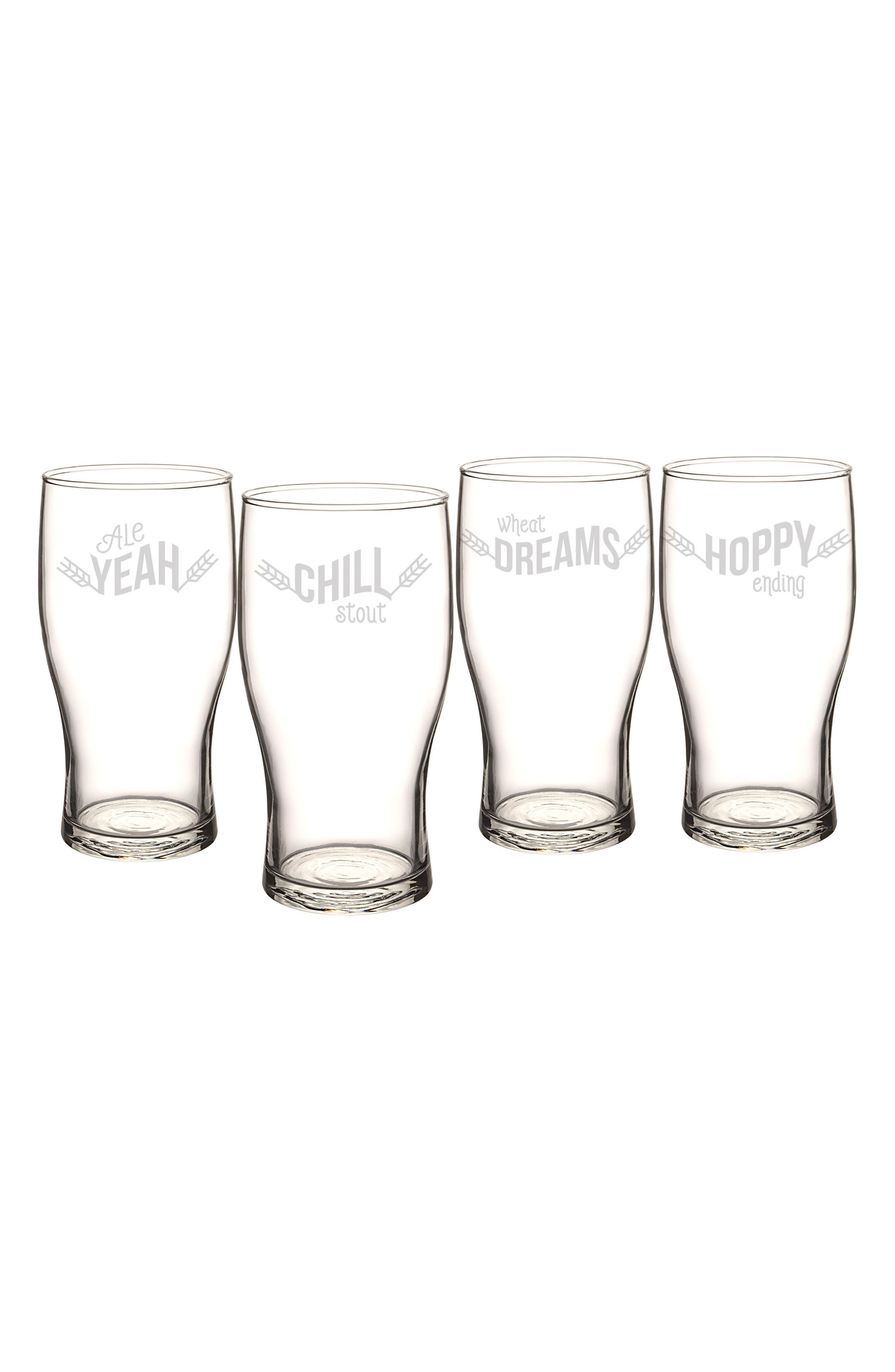 Beer Pun Set of 4 Pilsner Glasses,                         Main,                         color, 100