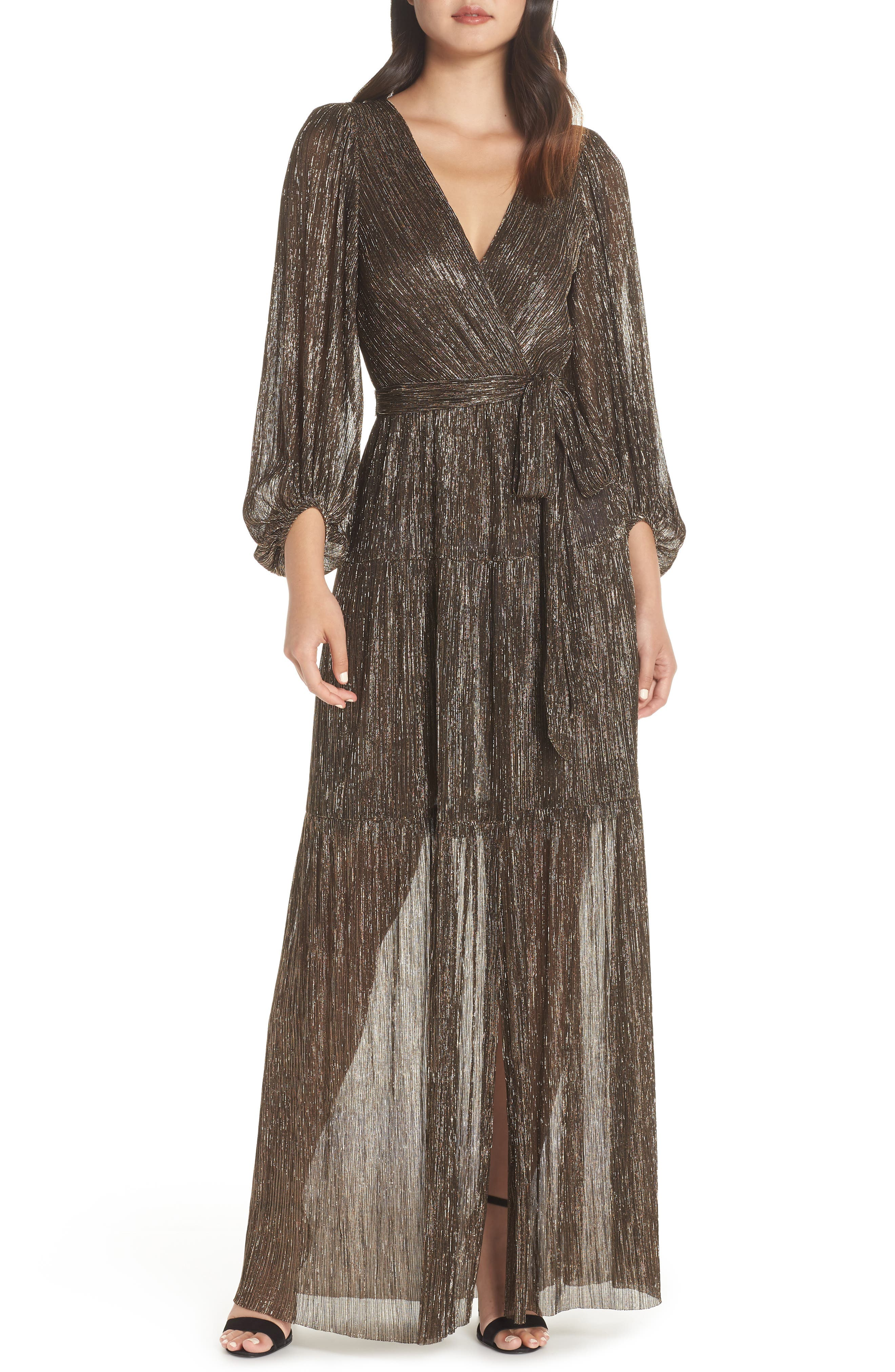 ELIZA J Backless Metallic Maxi Wrap Dress, Main, color, GOLD