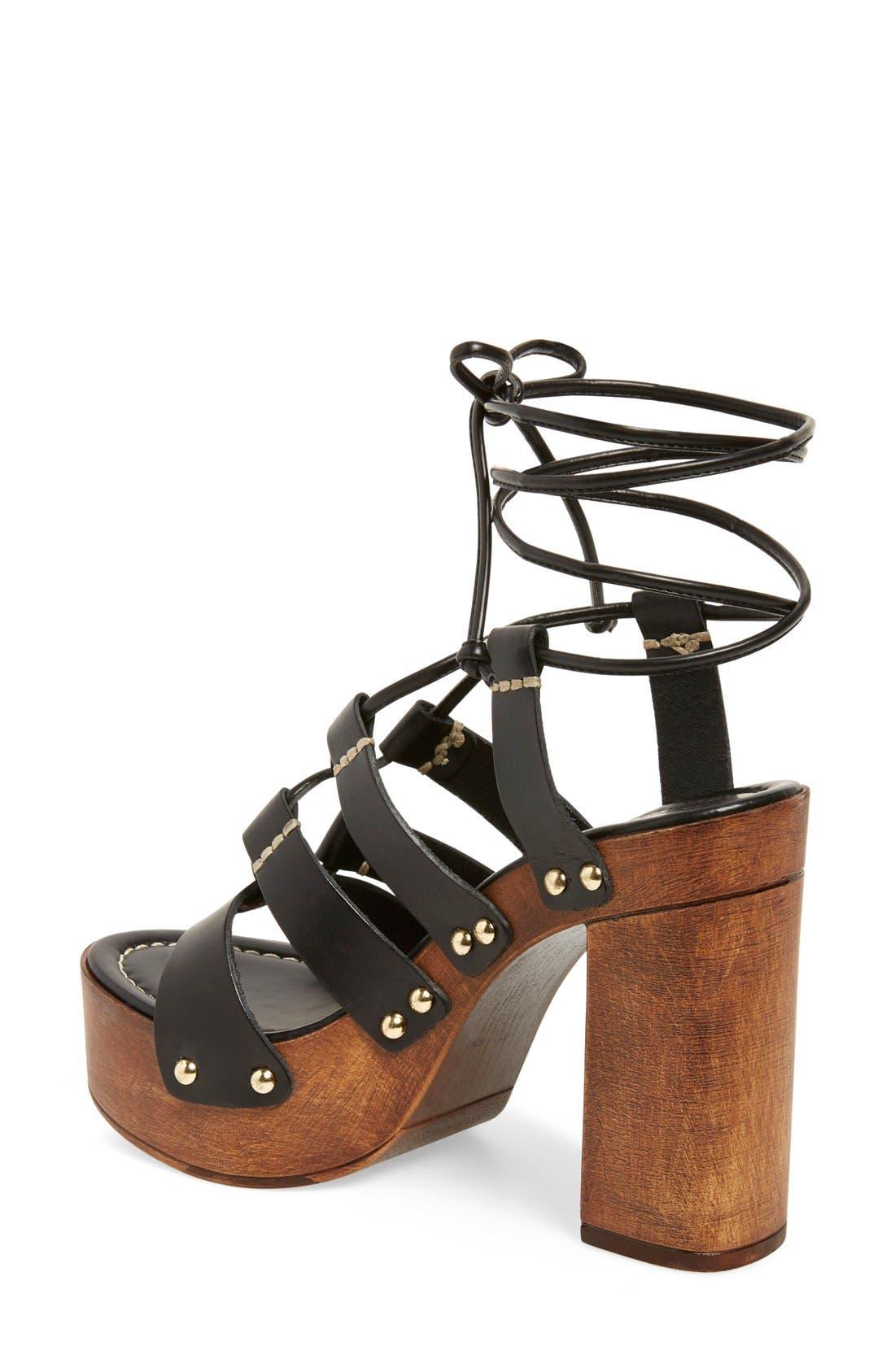 'Kenzie' Lace-Up Sandal,                             Alternate thumbnail 4, color,                             001
