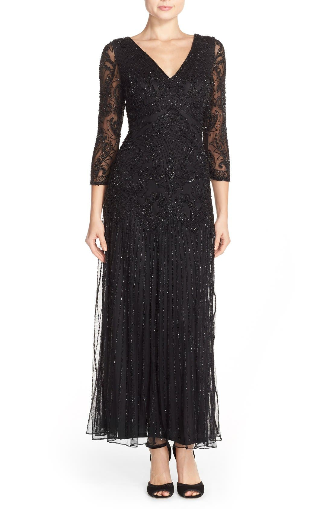 Embellished Mesh Gown,                             Main thumbnail 1, color,                             001