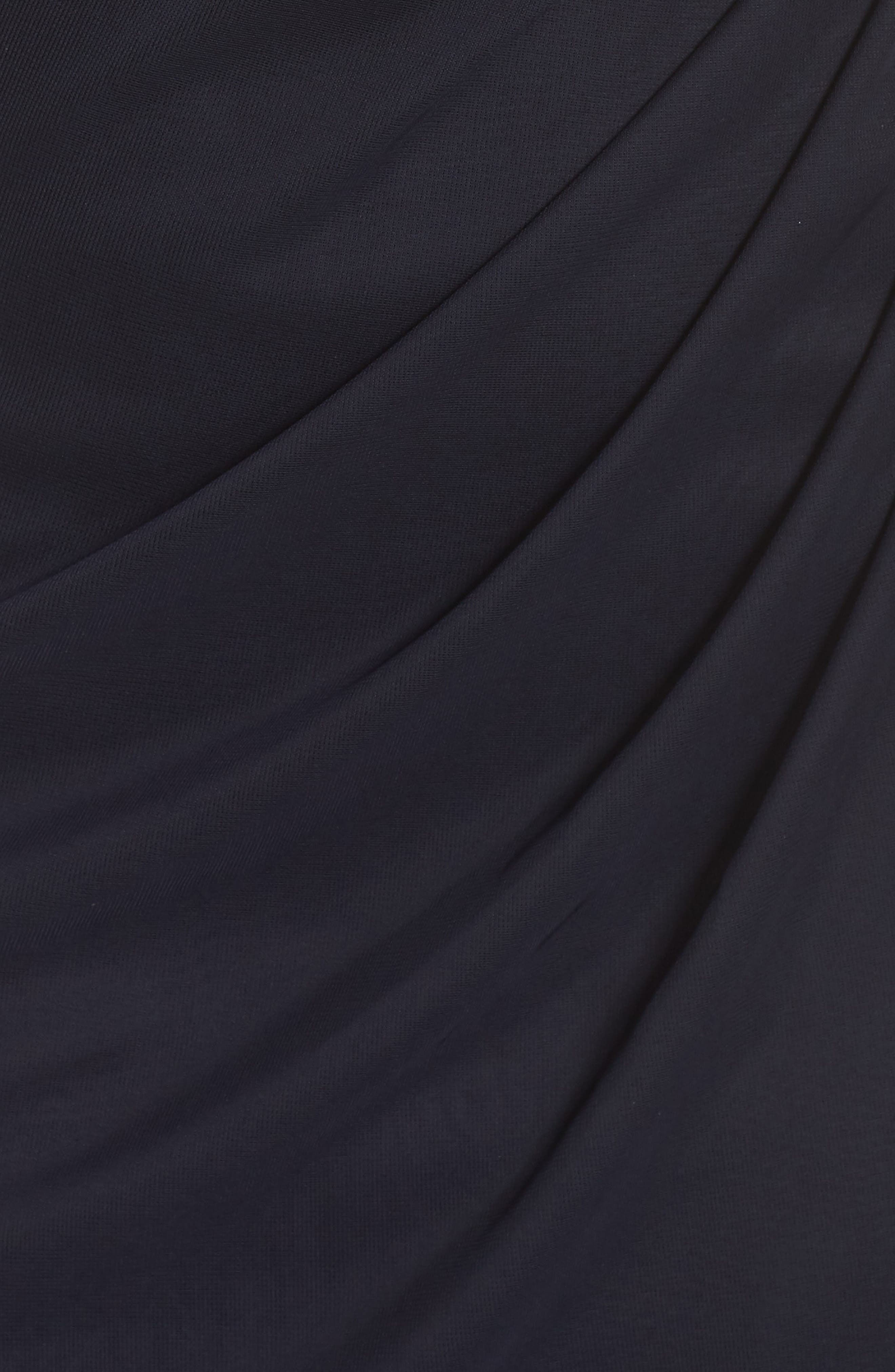 Side Ruched Beaded Gown,                             Alternate thumbnail 6, color,                             NAVY