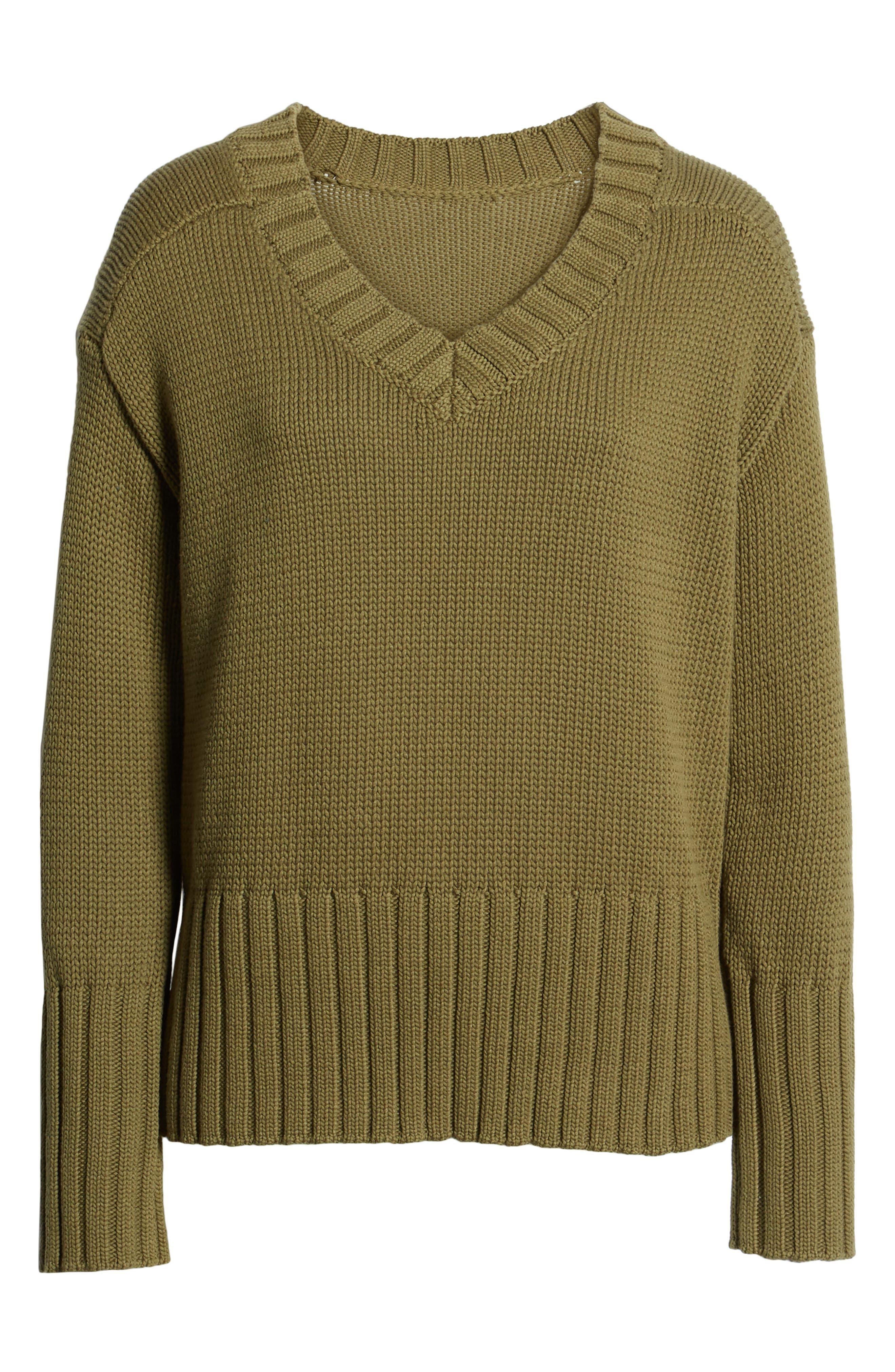 V-Neck Sweater,                             Alternate thumbnail 6, color,                             OLIVE BURNT