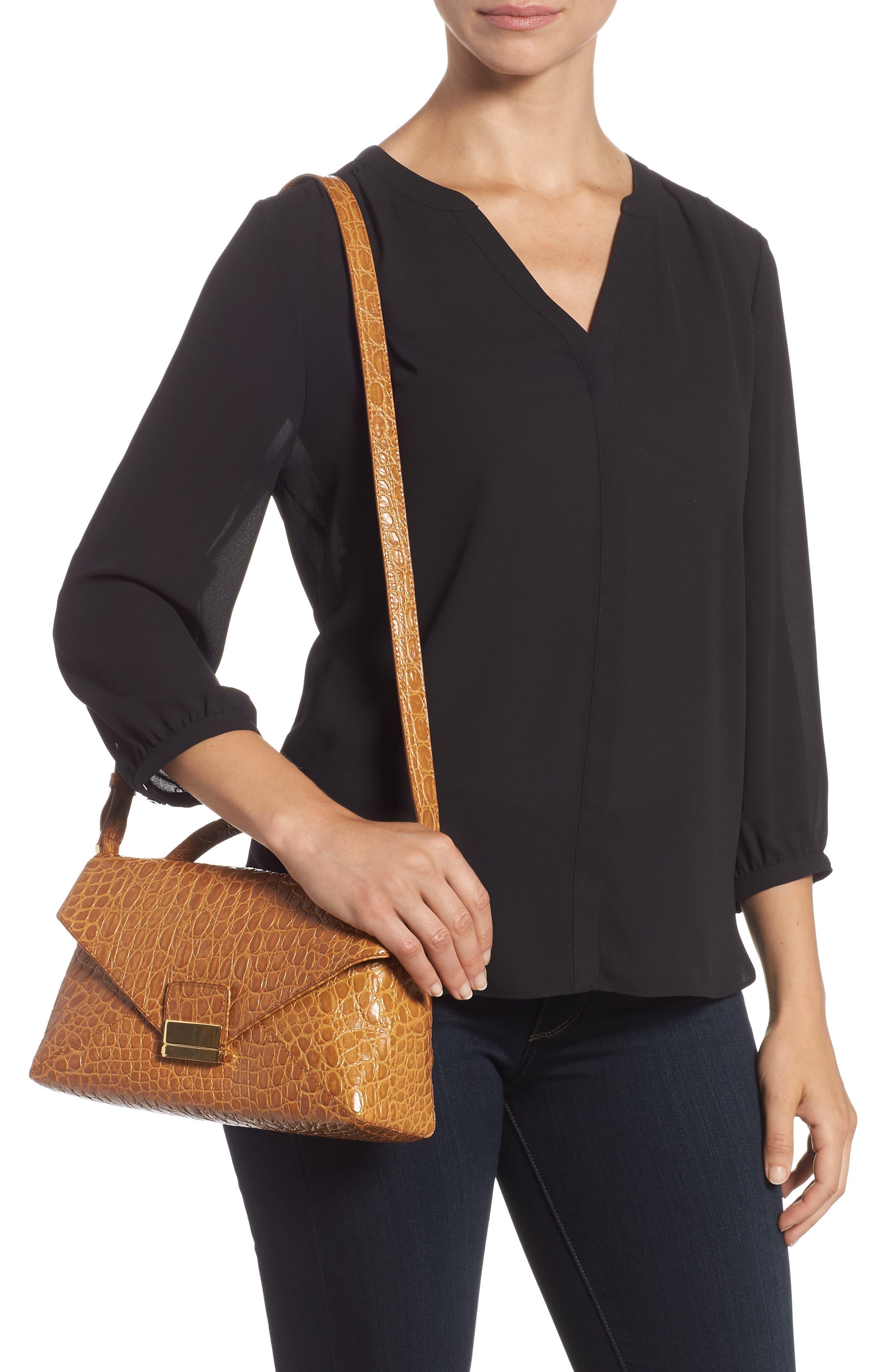 Croc Embossed Leather Shoulder Bag,                             Alternate thumbnail 2, color,                             GOLD