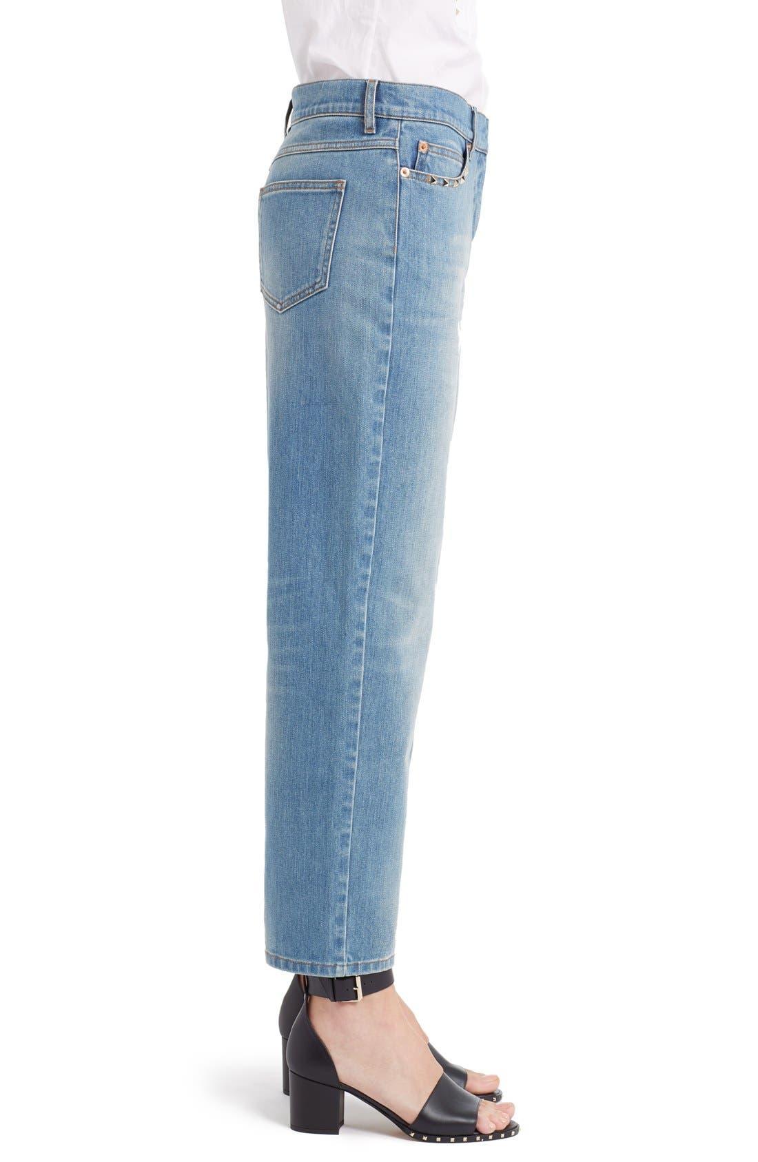 Rockstud Boyfriend Jeans,                             Alternate thumbnail 9, color,                             BLUE