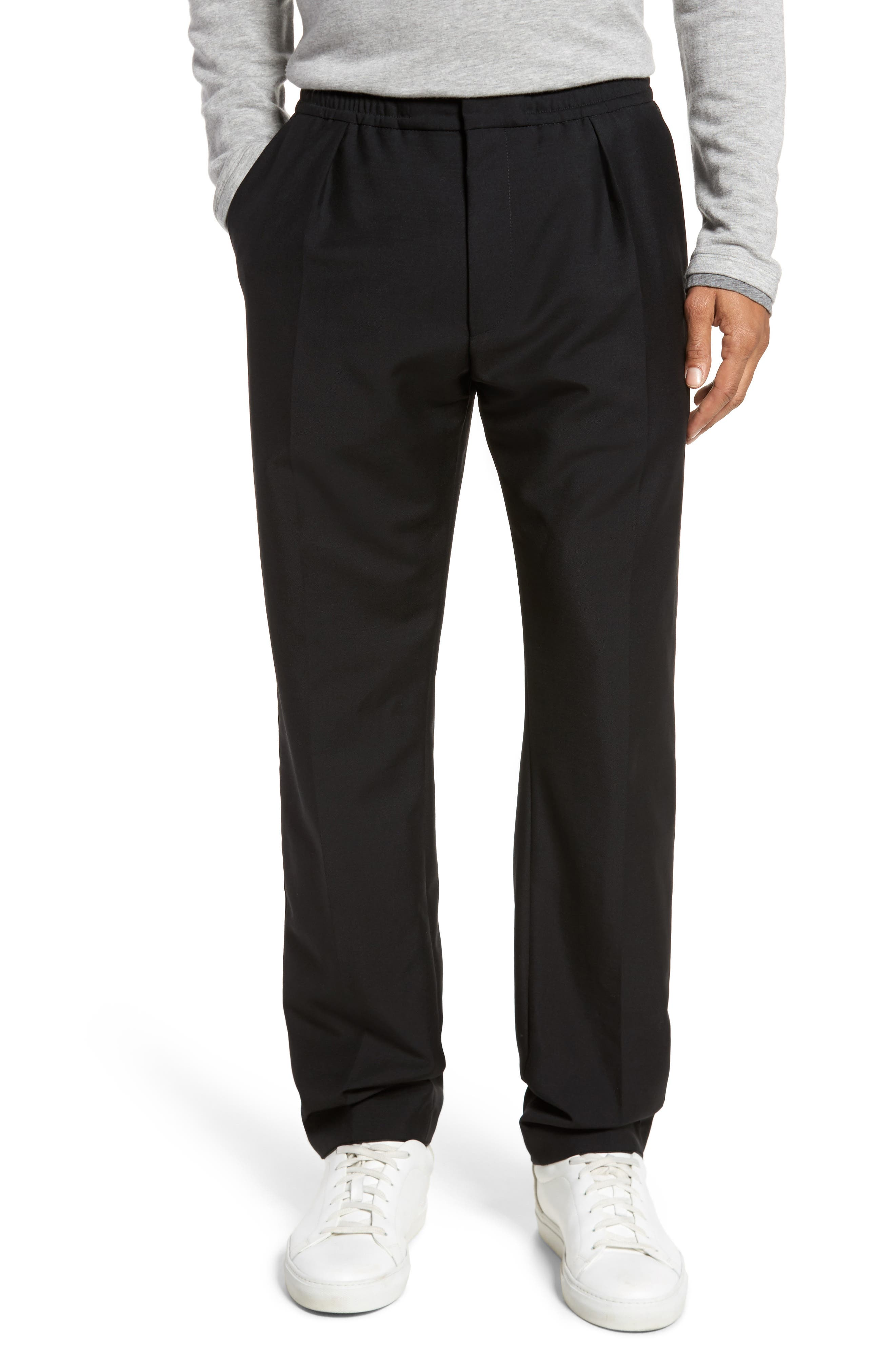 Payton Pleated Solid Wool & Mohair Jogger Trousers,                             Main thumbnail 1, color,                             001
