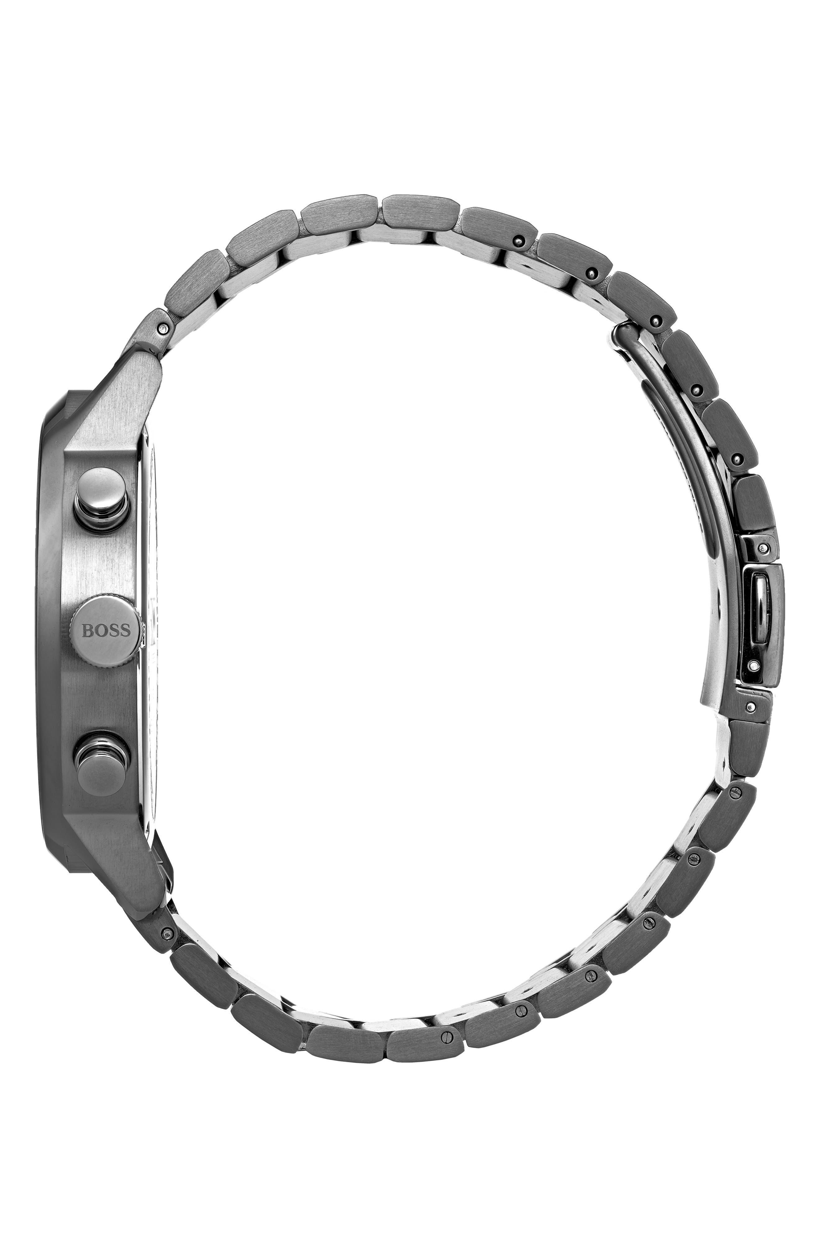 Architectural Chronograph Bracelet Watch, 44mm,                             Alternate thumbnail 3, color,                             STEEL BLUE/ GUNMETAL