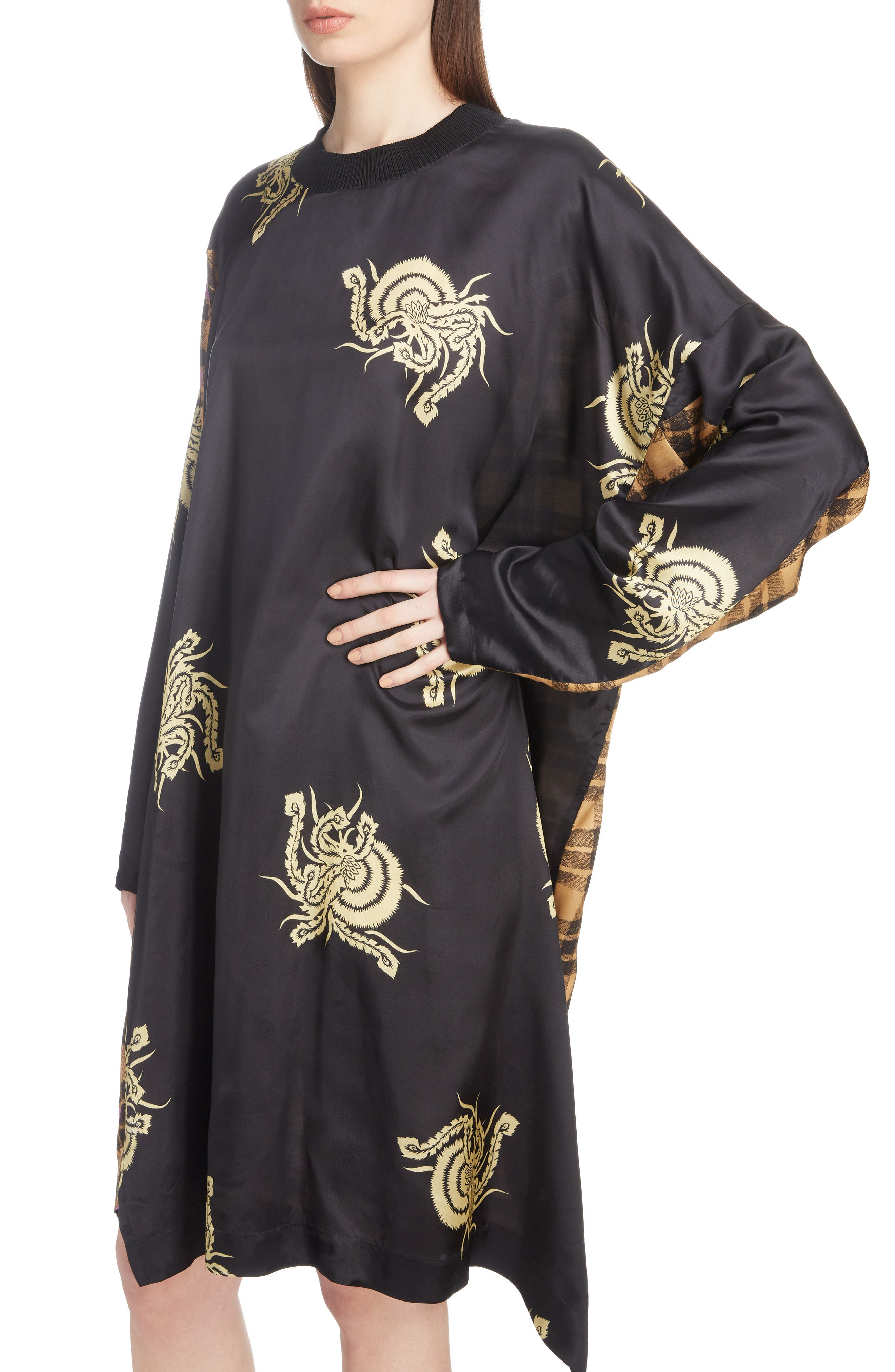 Mixed Print Dress,                             Alternate thumbnail 4, color,                             001