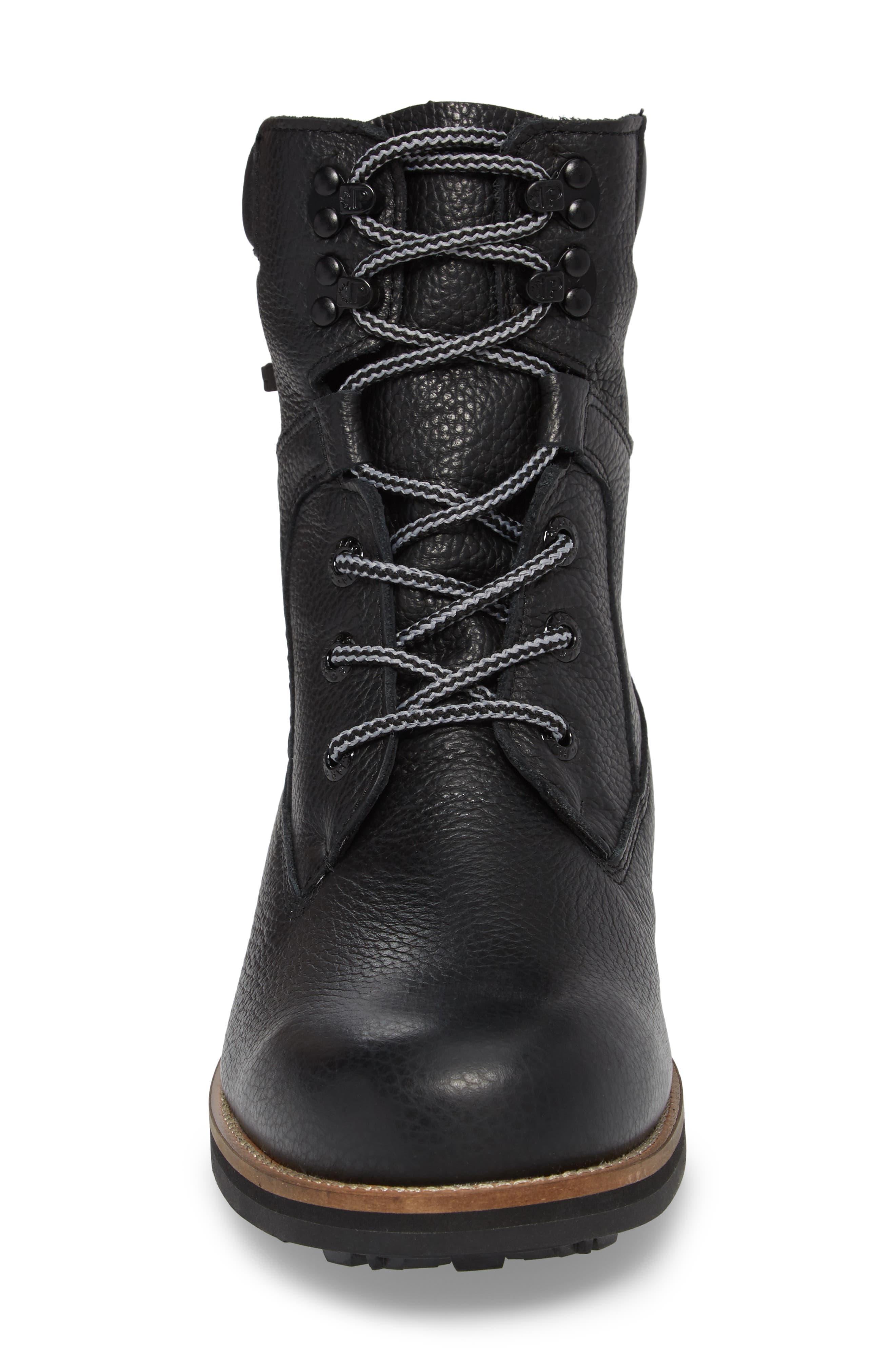 PAJAR,                             David Plain Toe Waterproof Boot,                             Alternate thumbnail 4, color,                             BLACK LEATHER