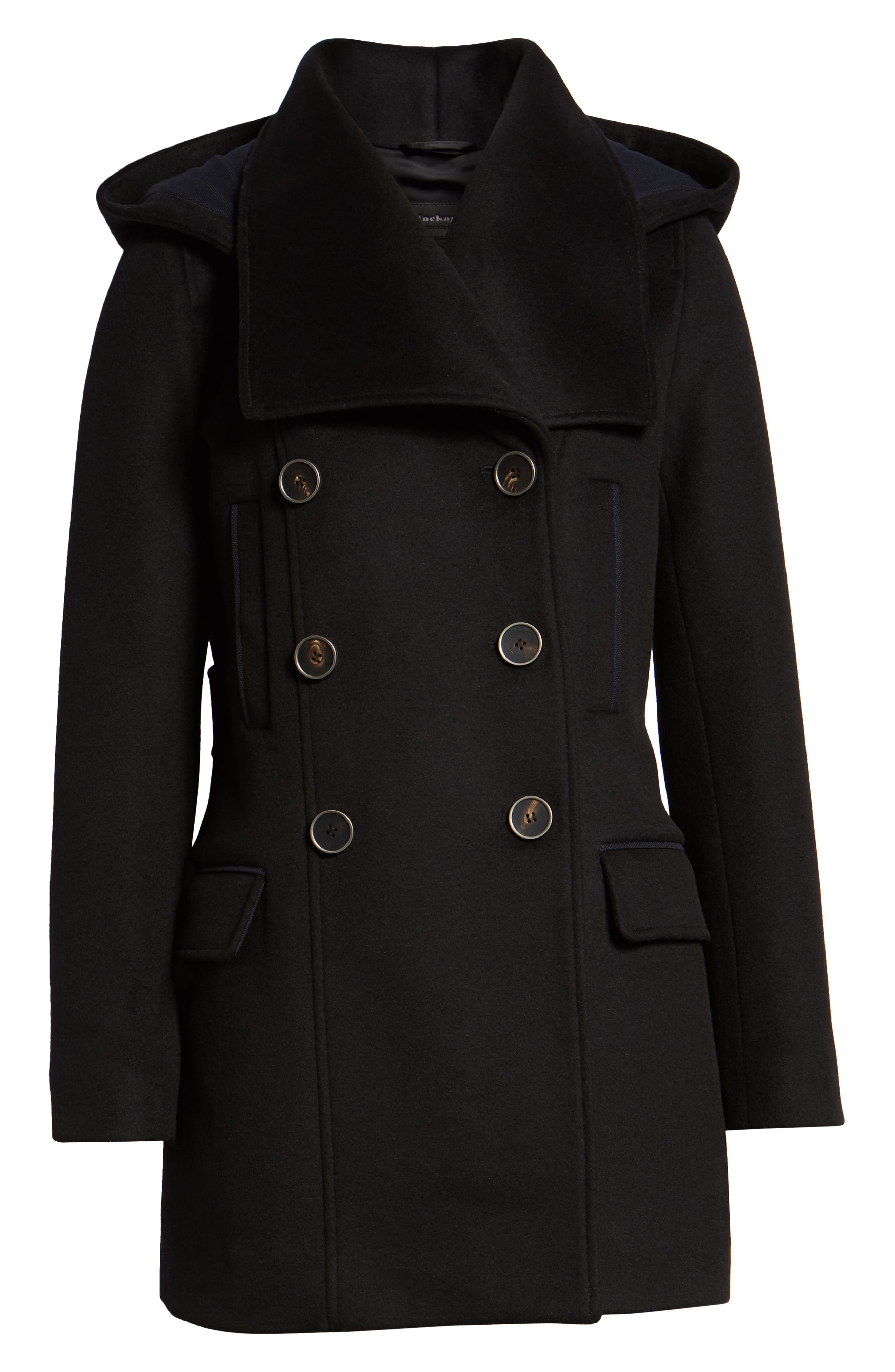 Hooded Peacoat,                             Alternate thumbnail 6, color,                             BLACK