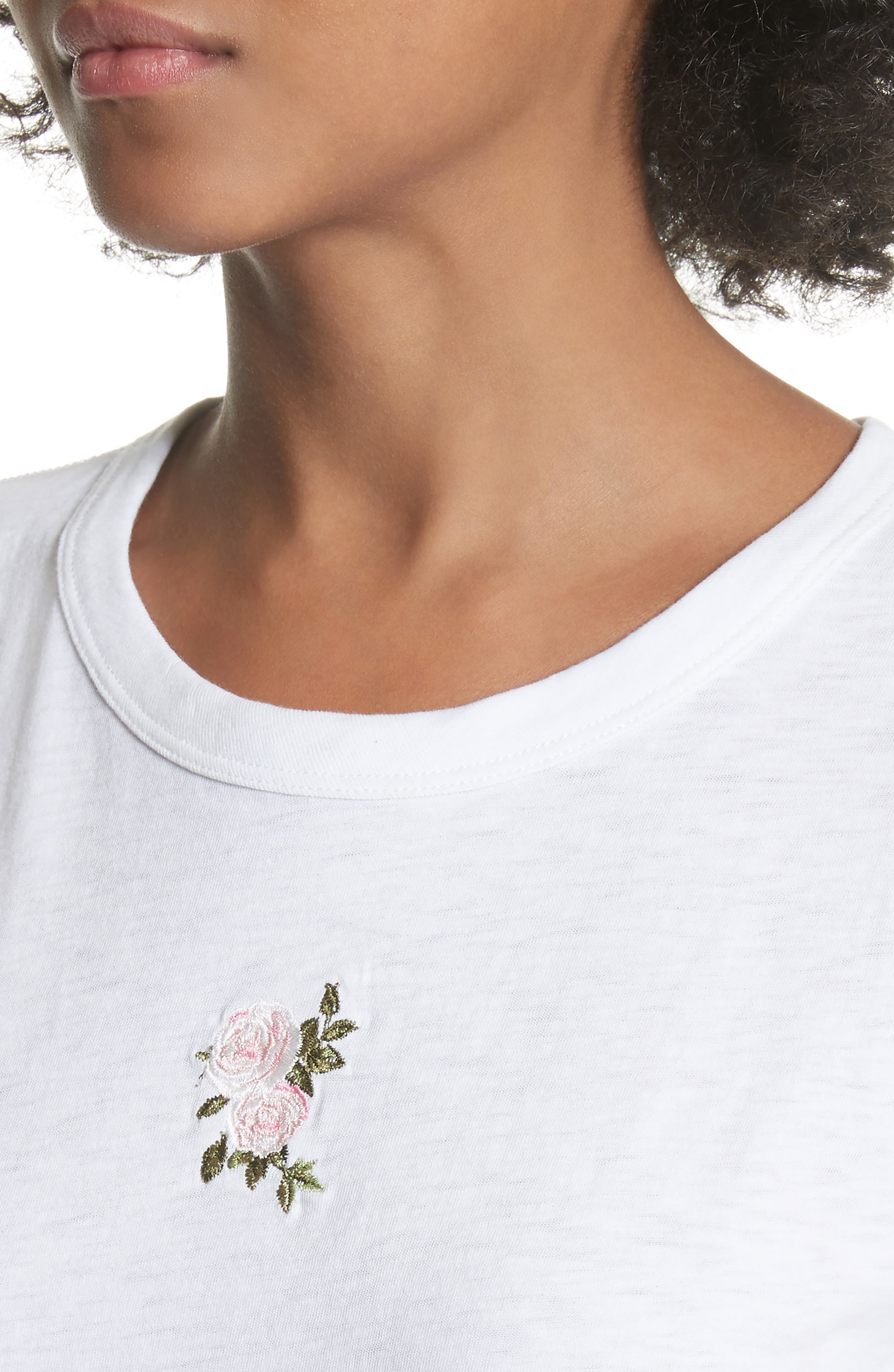 Rose Embroidered Tee,                             Alternate thumbnail 4, color,