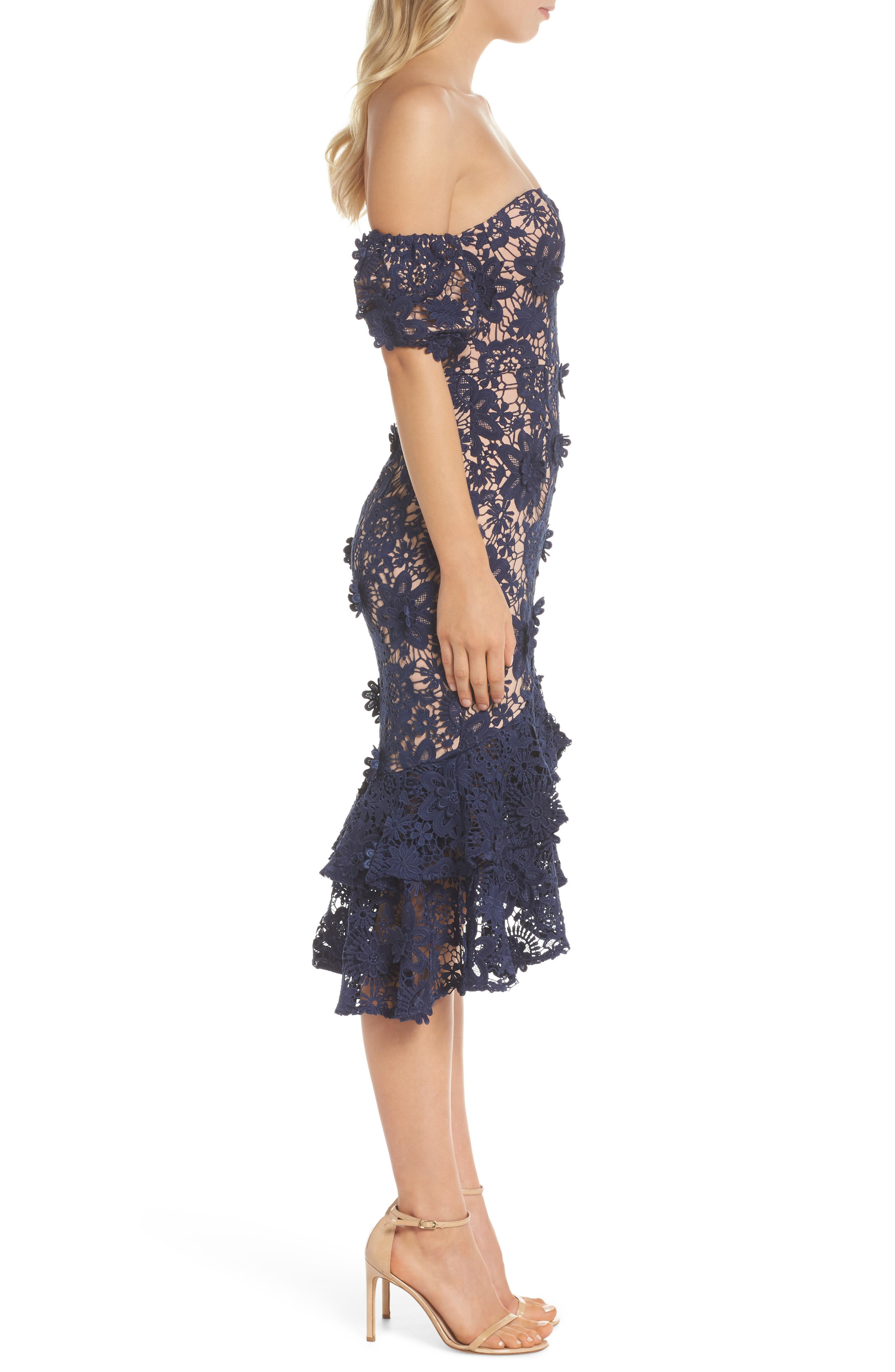 Merrilee Off the Shoulder 3D Lace Dress,                             Alternate thumbnail 3, color,                             NAVY