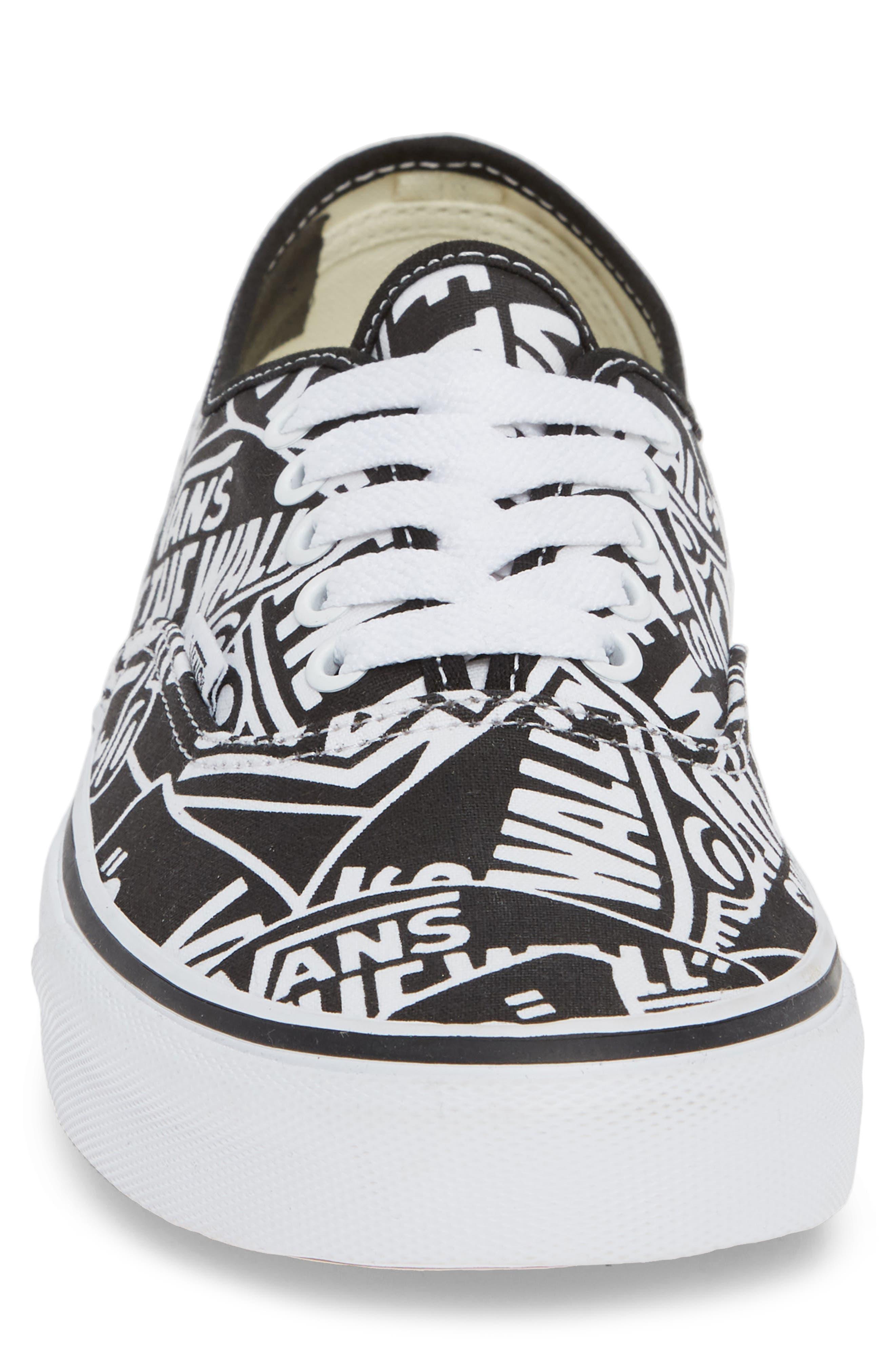 Authentic Sneaker,                             Alternate thumbnail 4, color,                             BLACK/ WHITE