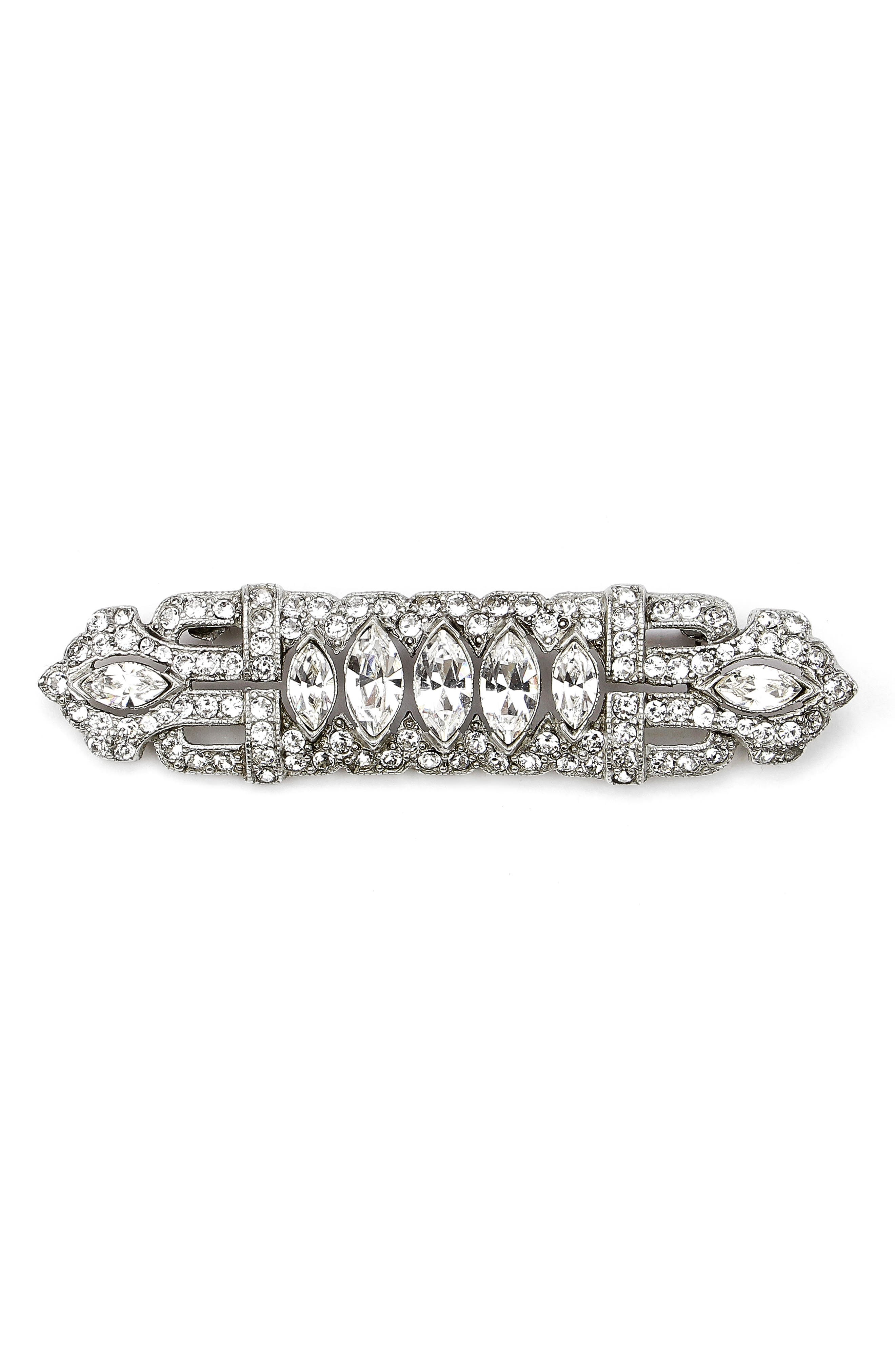 Art Deco Crystal Brooch,                         Main,                         color, SILVER