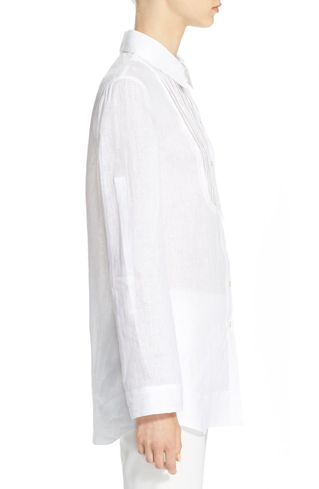 ARMANI COLLEZIONI,                             Linen Tuxedo Shirt,                             Alternate thumbnail 4, color,                             100