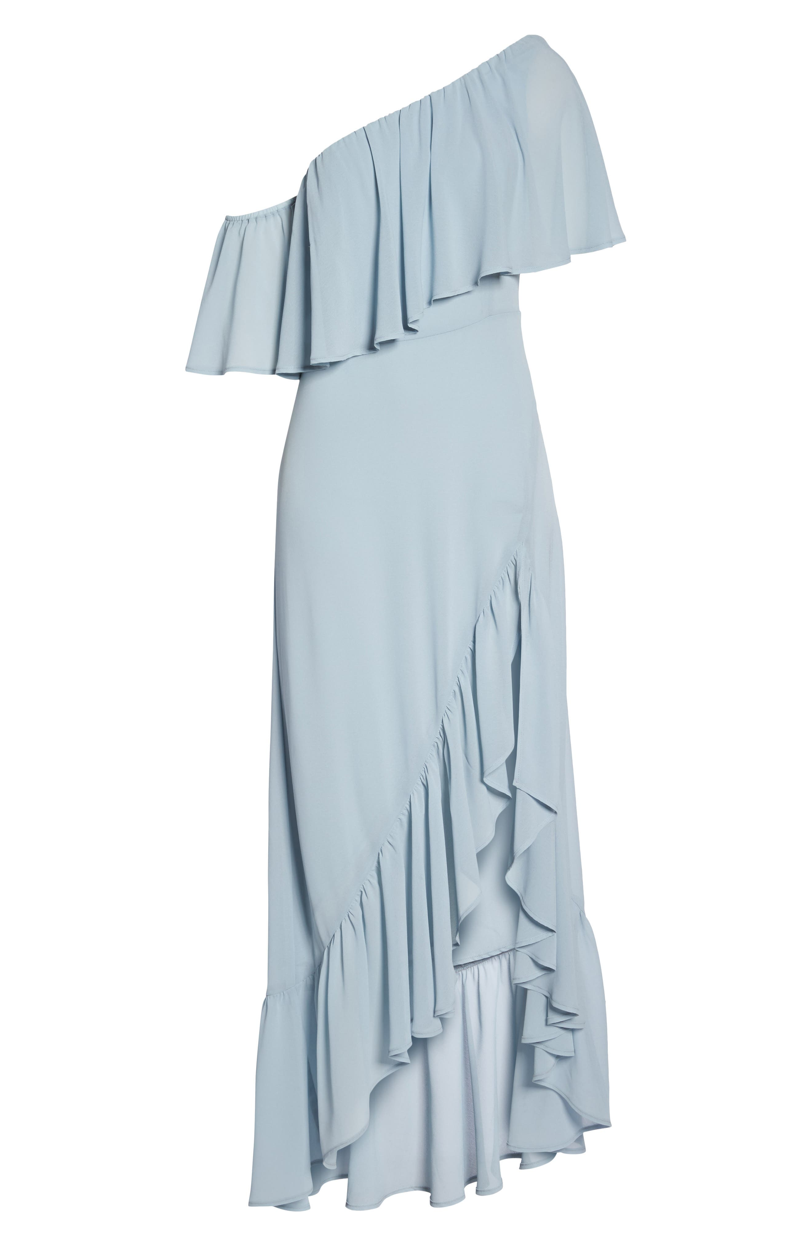 Tango Ruffle Gown,                             Alternate thumbnail 6, color,                             STEEL BLUE CHIFFON