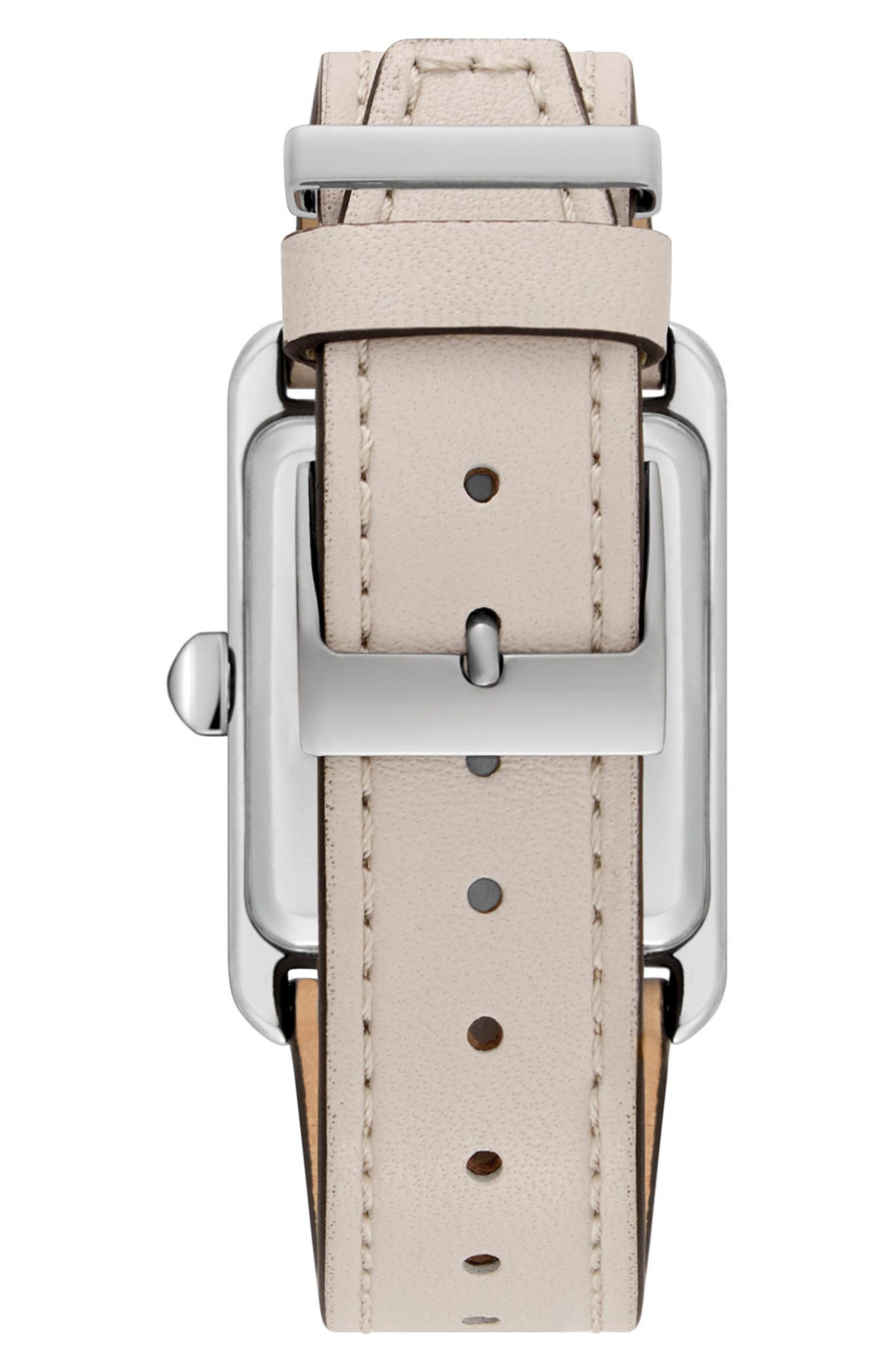 Moment Leather Strap Watch, 27mm x 39mm,                             Alternate thumbnail 2, color,                             PUTTY/ WHITE/ SILVER