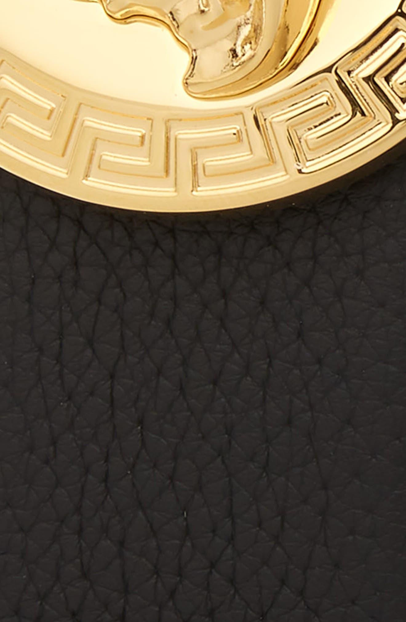 Circular Medusa Leather Belt,                             Alternate thumbnail 2, color,                             BLACK