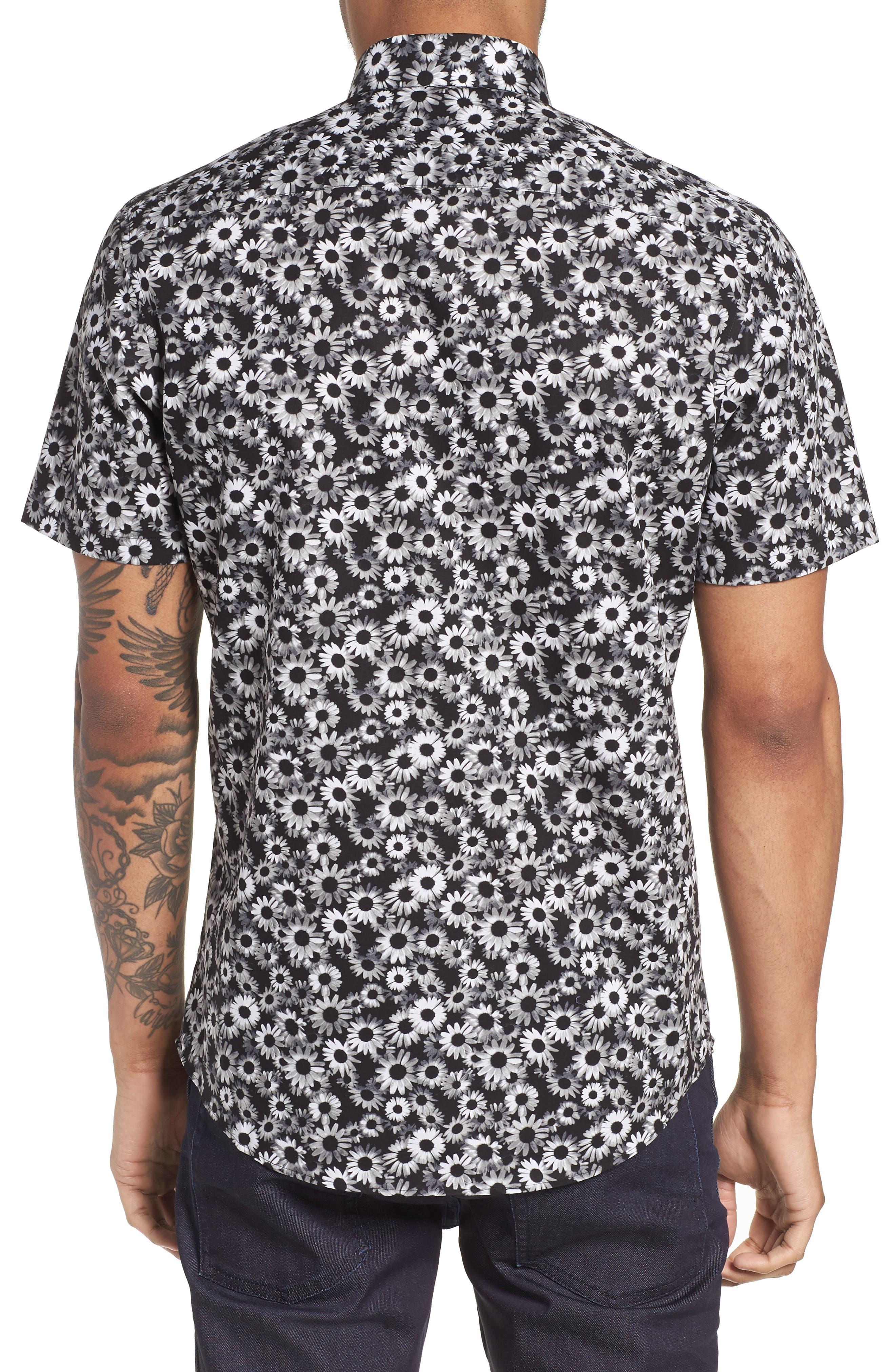 Floral Sport Shirt,                             Alternate thumbnail 2, color,                             BLACK WHITE DAISY FLORAL
