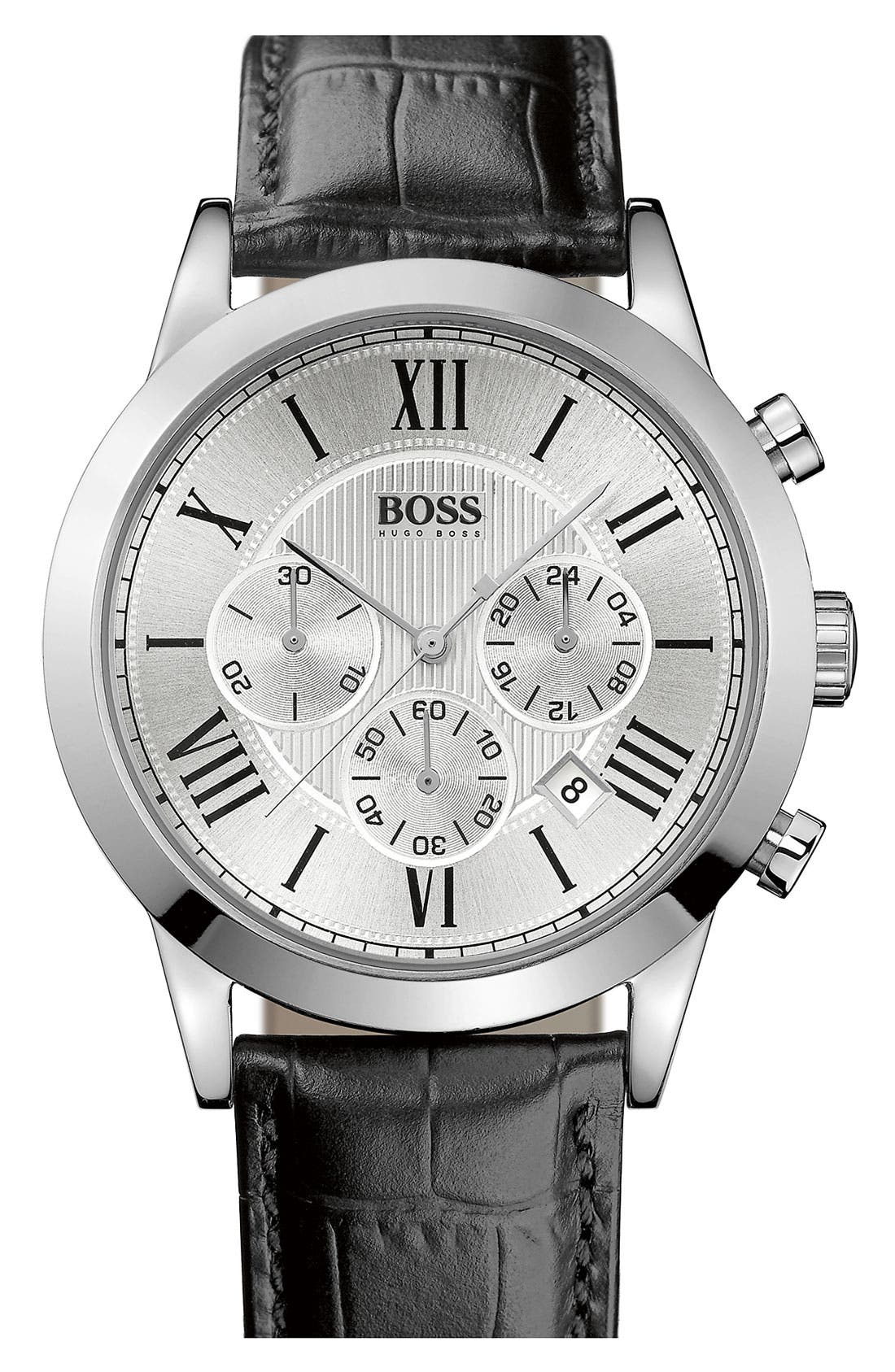 Leather Strap Round Chronograph Watch, 43mm,                         Main,                         color, 001