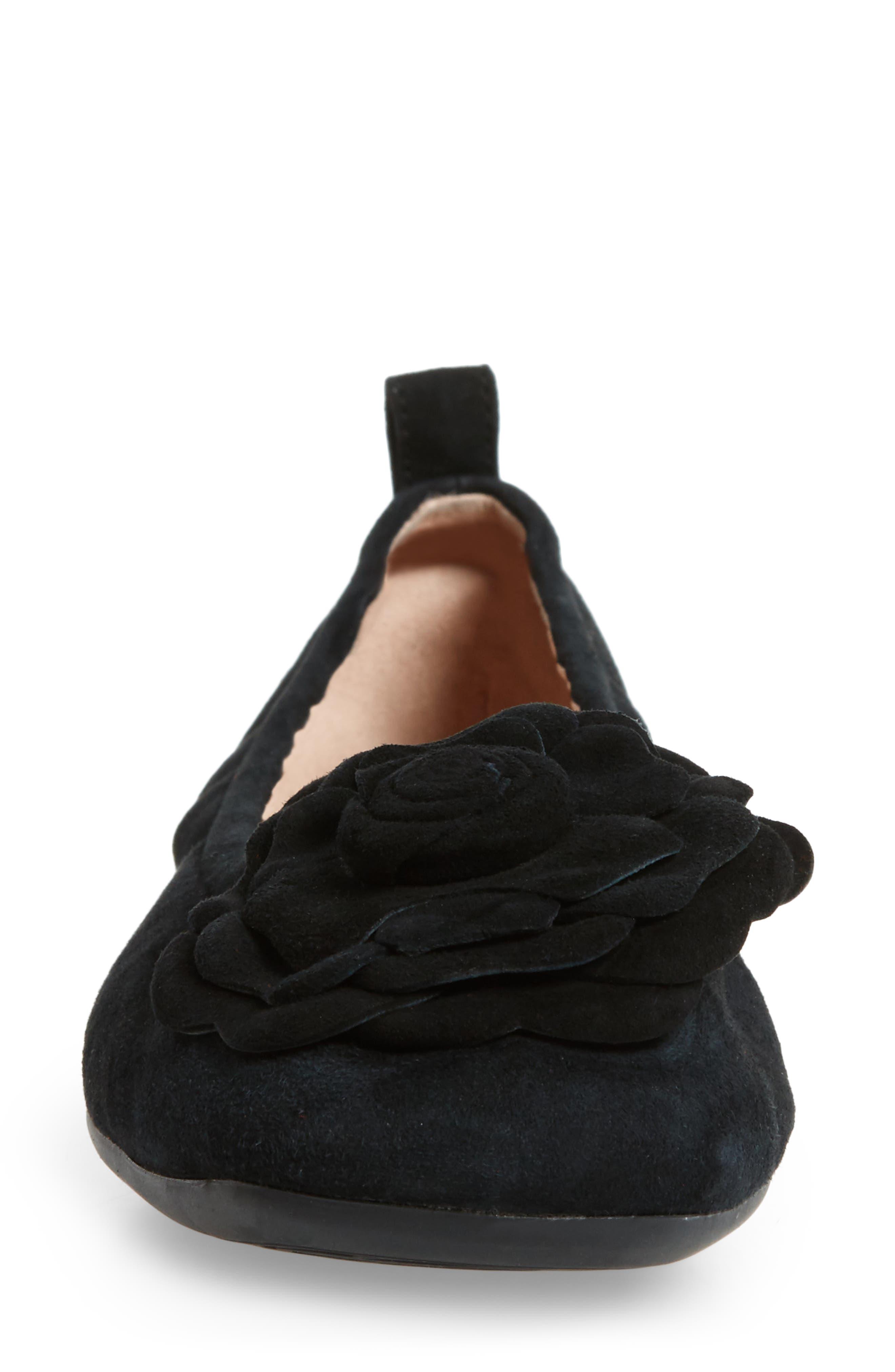 Rosalyn Ballet Flat,                             Alternate thumbnail 4, color,                             BLACK SUEDE