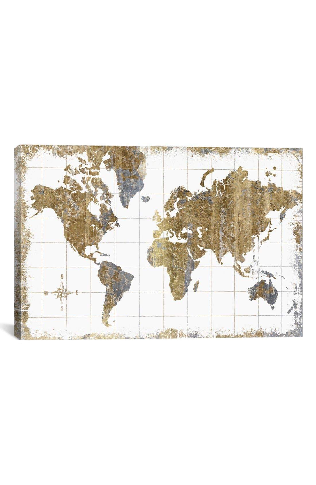 'Gilded Map' Giclée Print Canvas Art,                         Main,                         color, WHITE