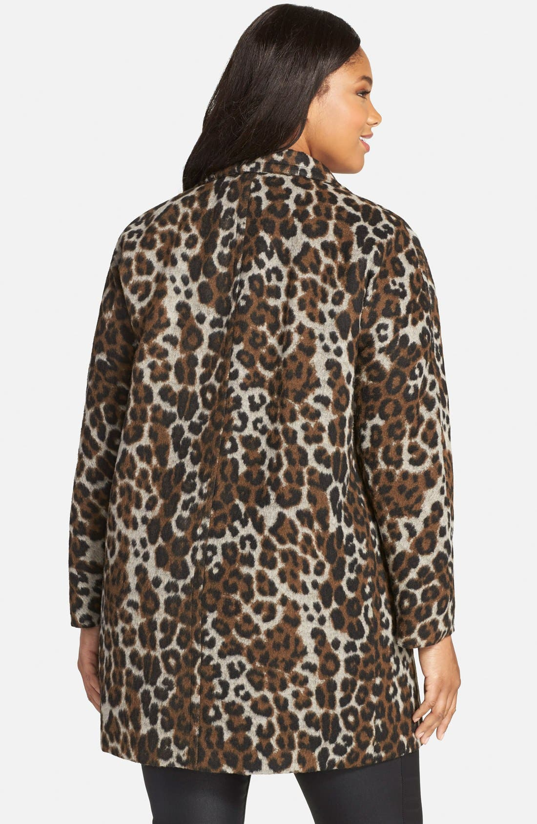 Leopard Print Car Coat,                             Alternate thumbnail 2, color,