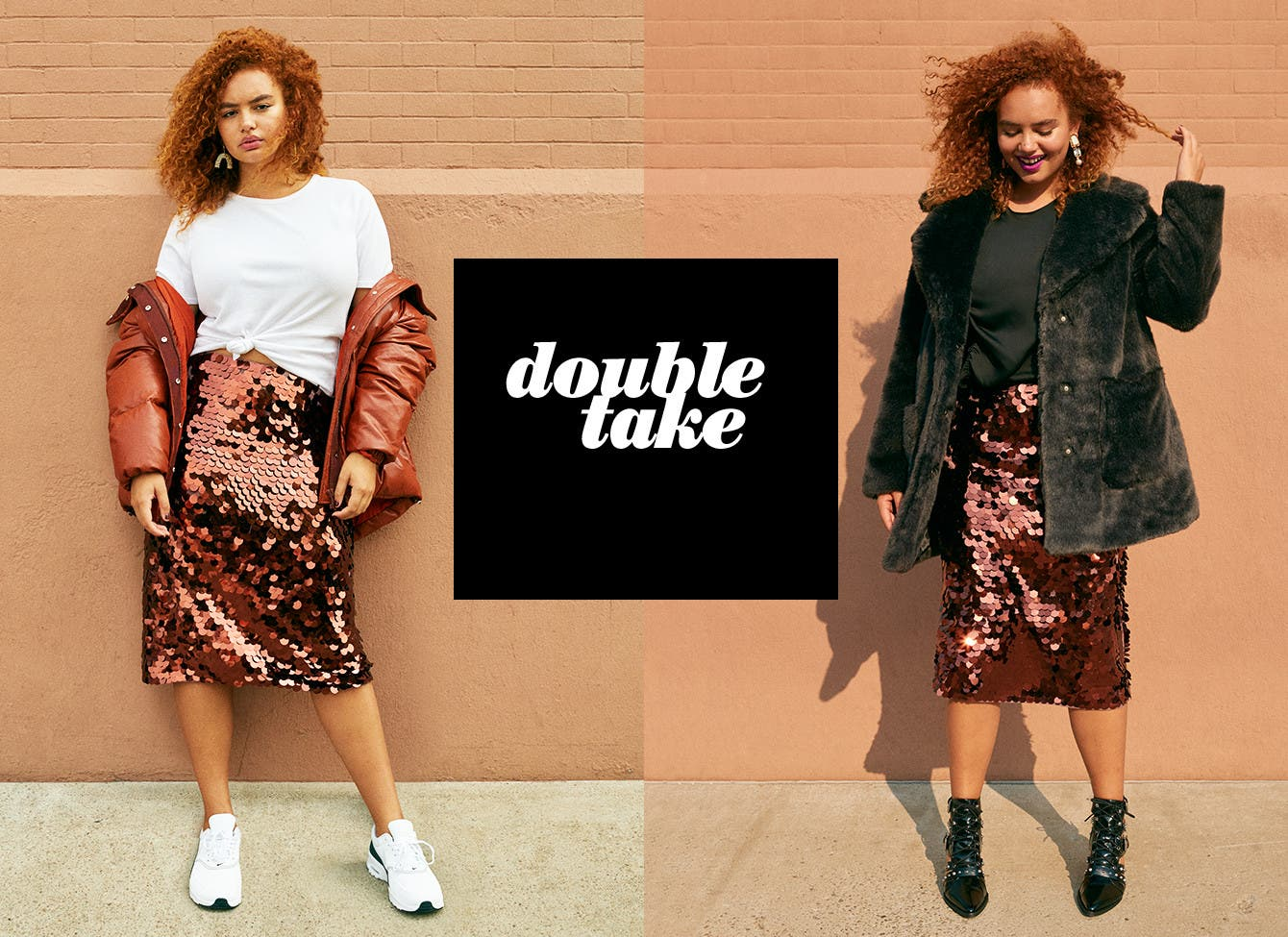 Double Take: how to wear a sequined skirt two ways.