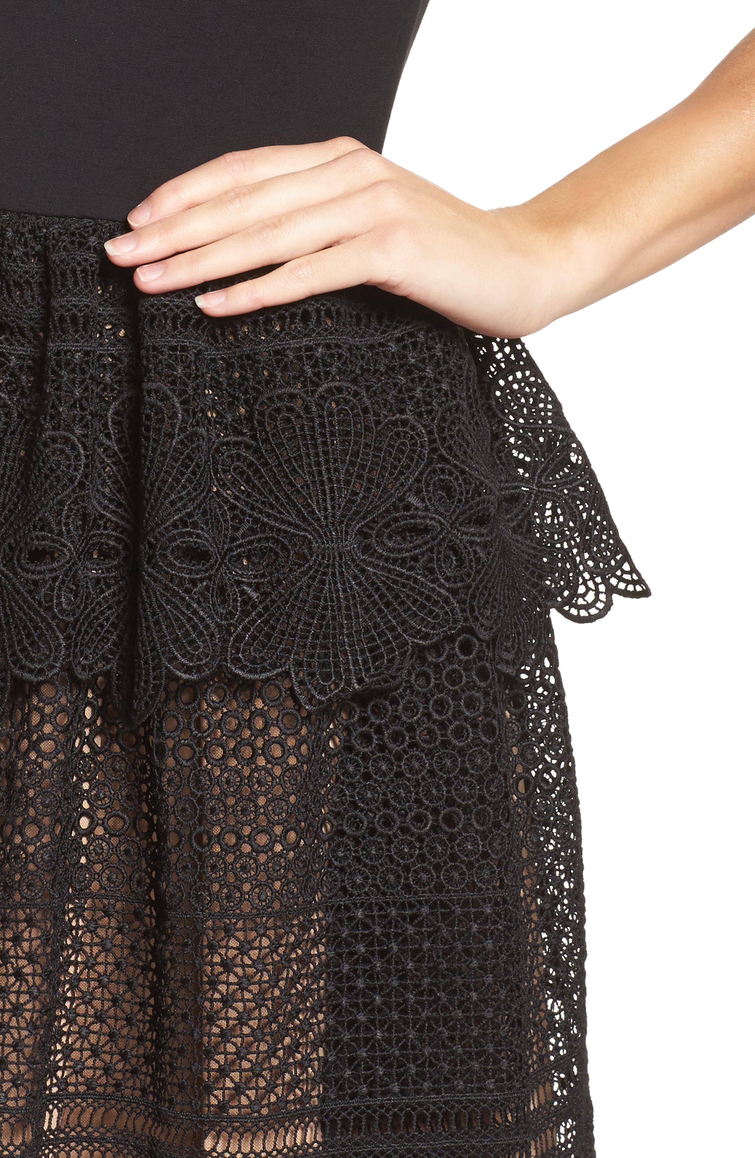 Amelia Lace A-Line Dress,                             Alternate thumbnail 4, color,                             001