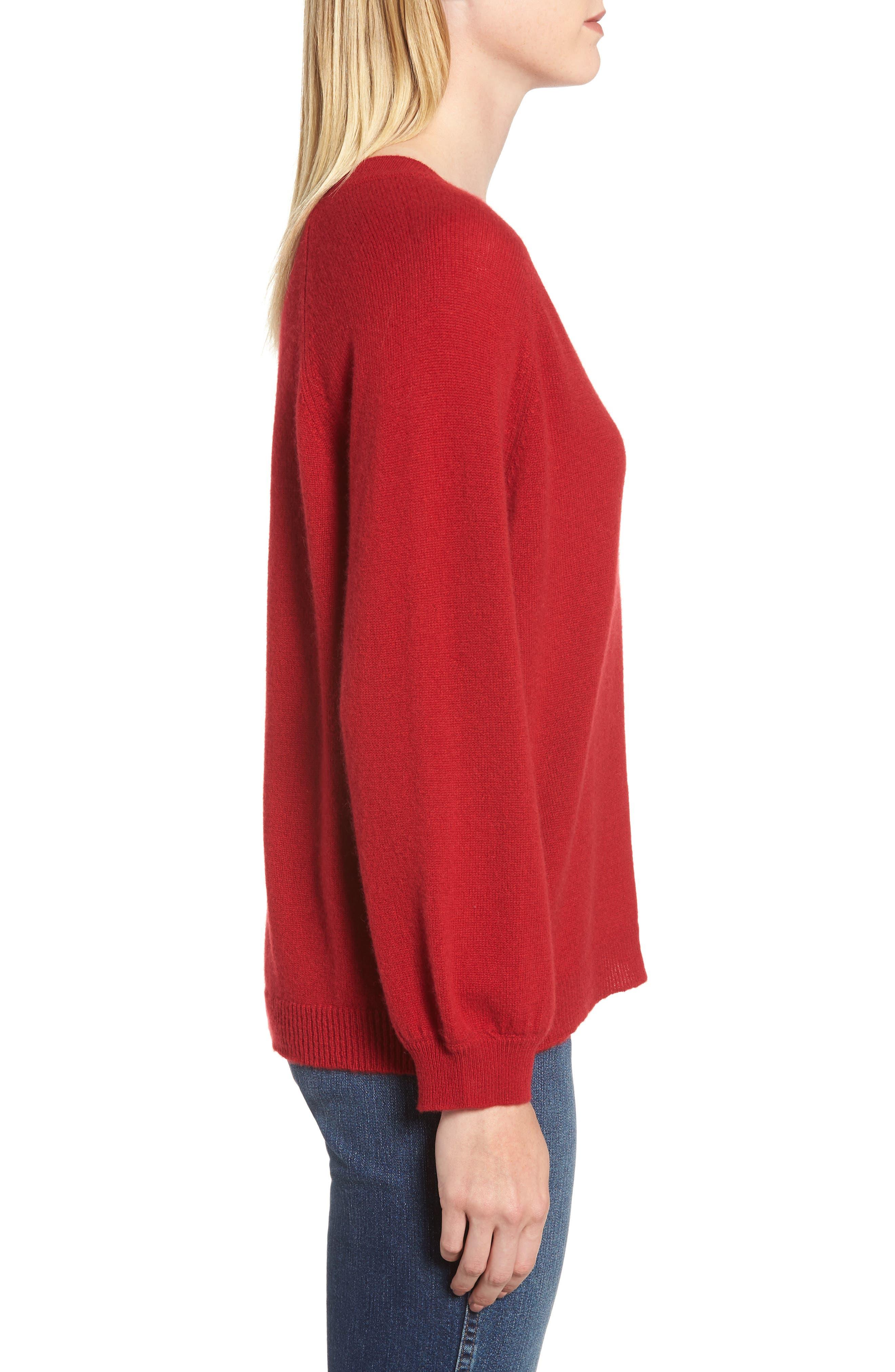 Blouson Sleeve Cashmere Sweater,                             Alternate thumbnail 3, color,                             LIPSTICK