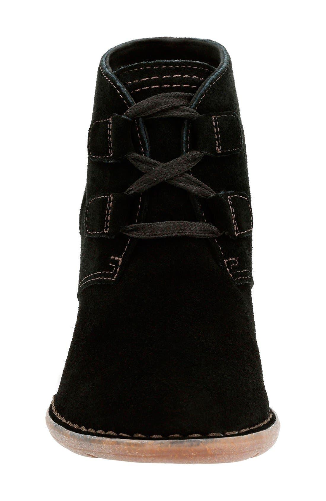 'Carleta Lyon' Ankle Boot,                             Alternate thumbnail 3, color,                             BLACK SUEDE