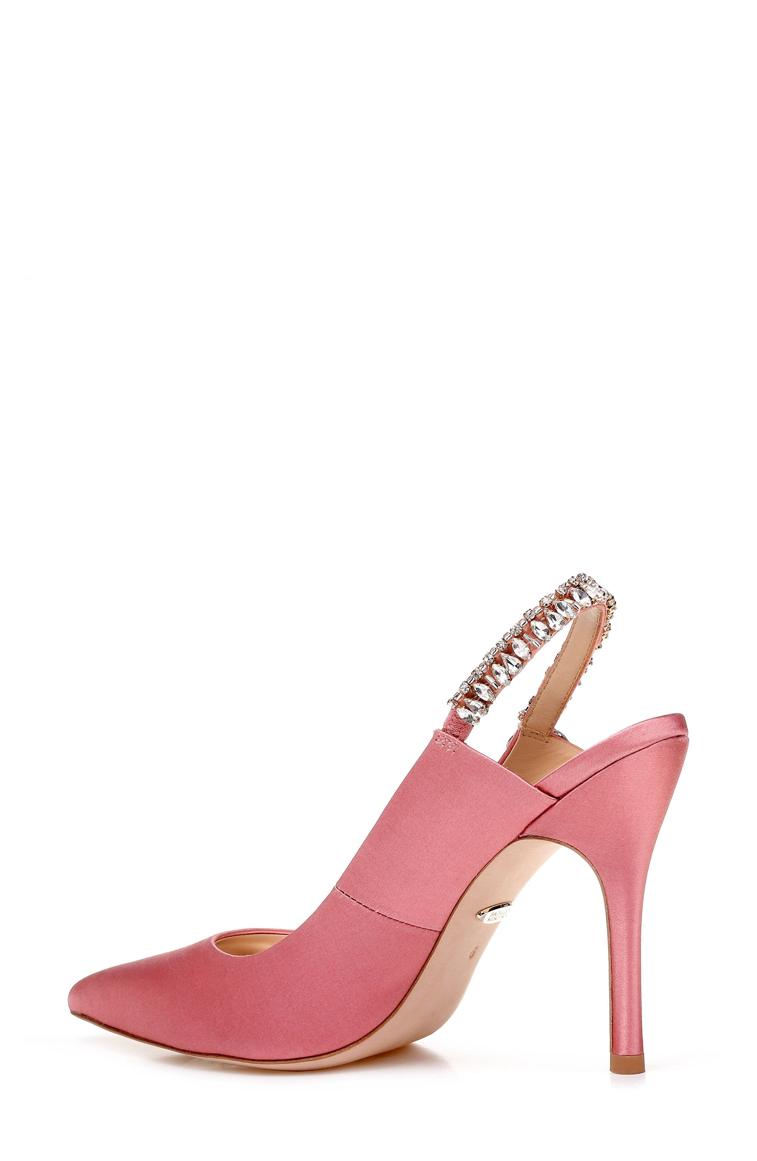 Paxton Pointy Toe Slingback Pump,                             Alternate thumbnail 2, color,                             ROSE SATIN