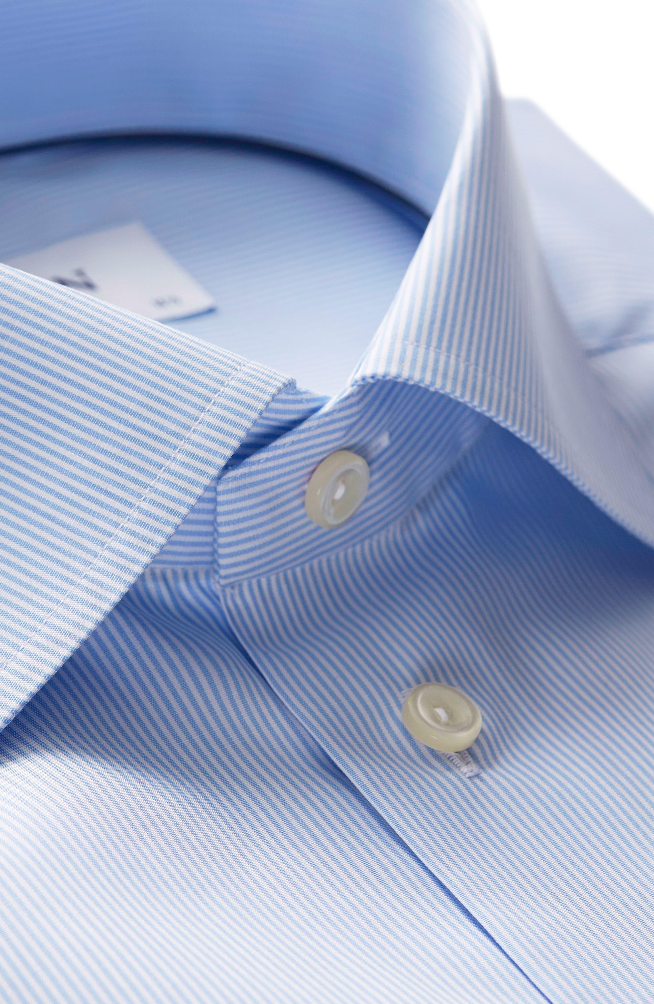 Extra Slim Fit Stripe Dress Shirt,                             Alternate thumbnail 3, color,                             LIGHT BLUE/ WHITE