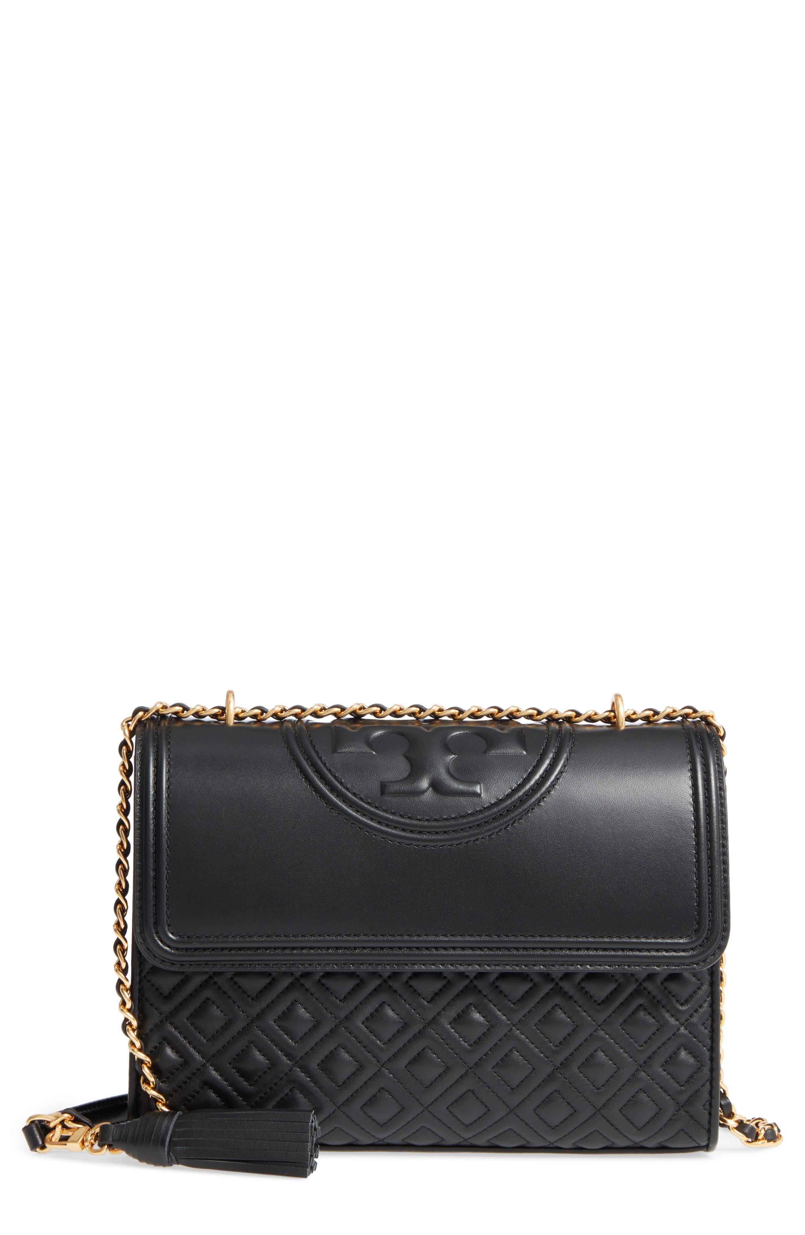 Fleming Leather Convertible Shoulder Bag,                             Main thumbnail 1, color,                             BLACK