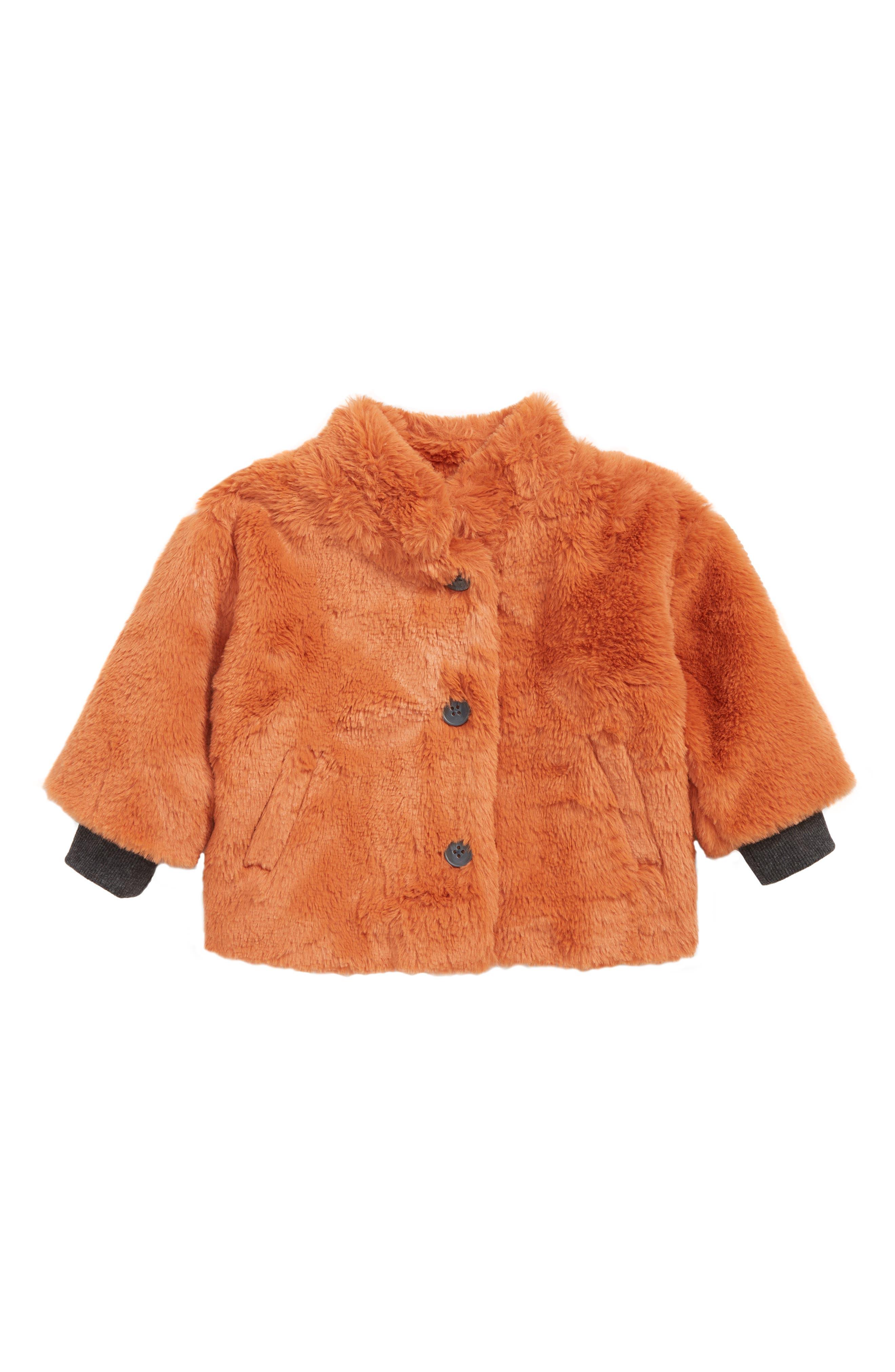 Faux Fur Jacket, Main, color, RUST LEAF