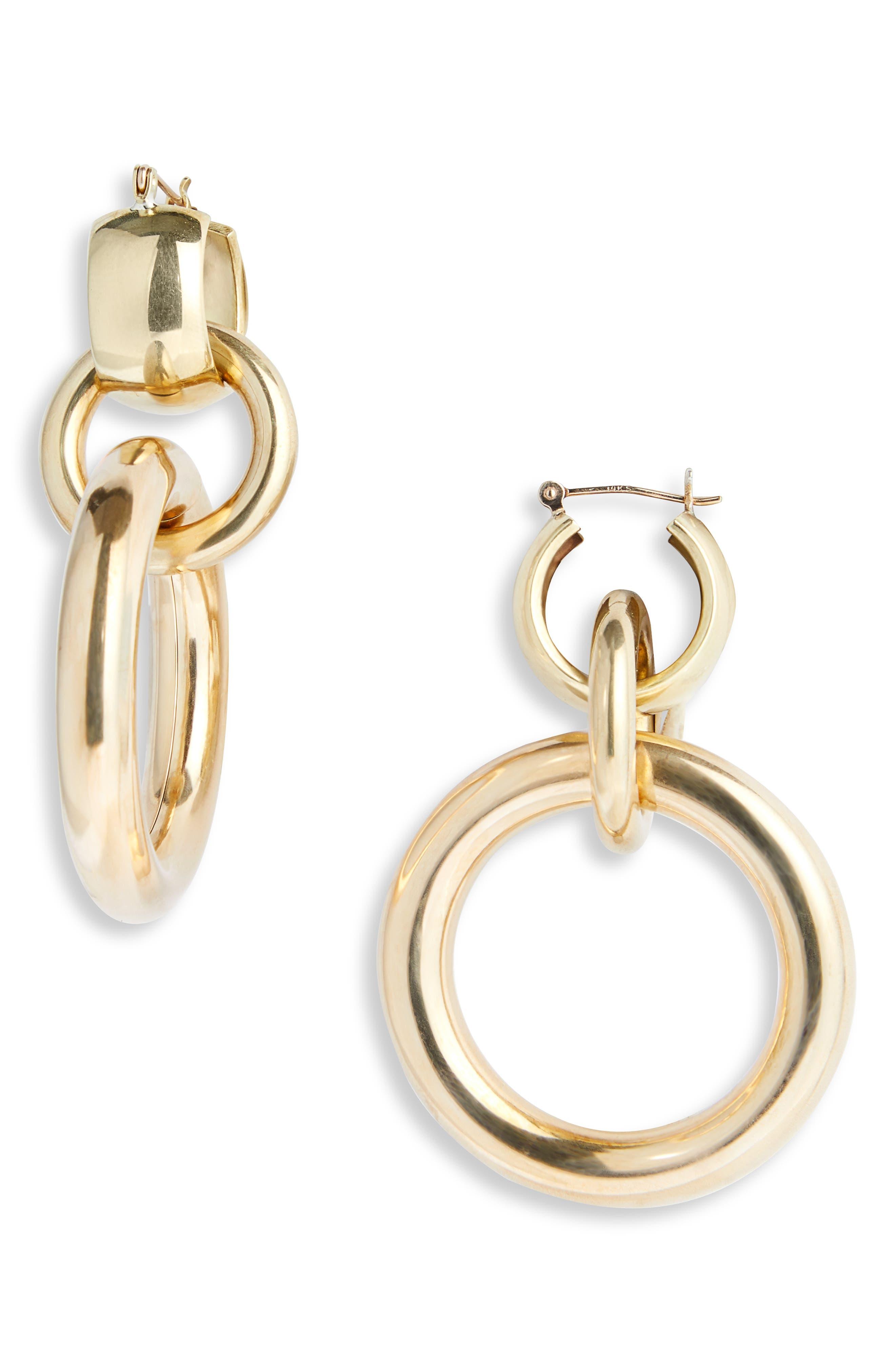 LAURA LOMBARDI,                             Amara Interlocking Hoop Earrings,                             Main thumbnail 1, color,                             BRASS