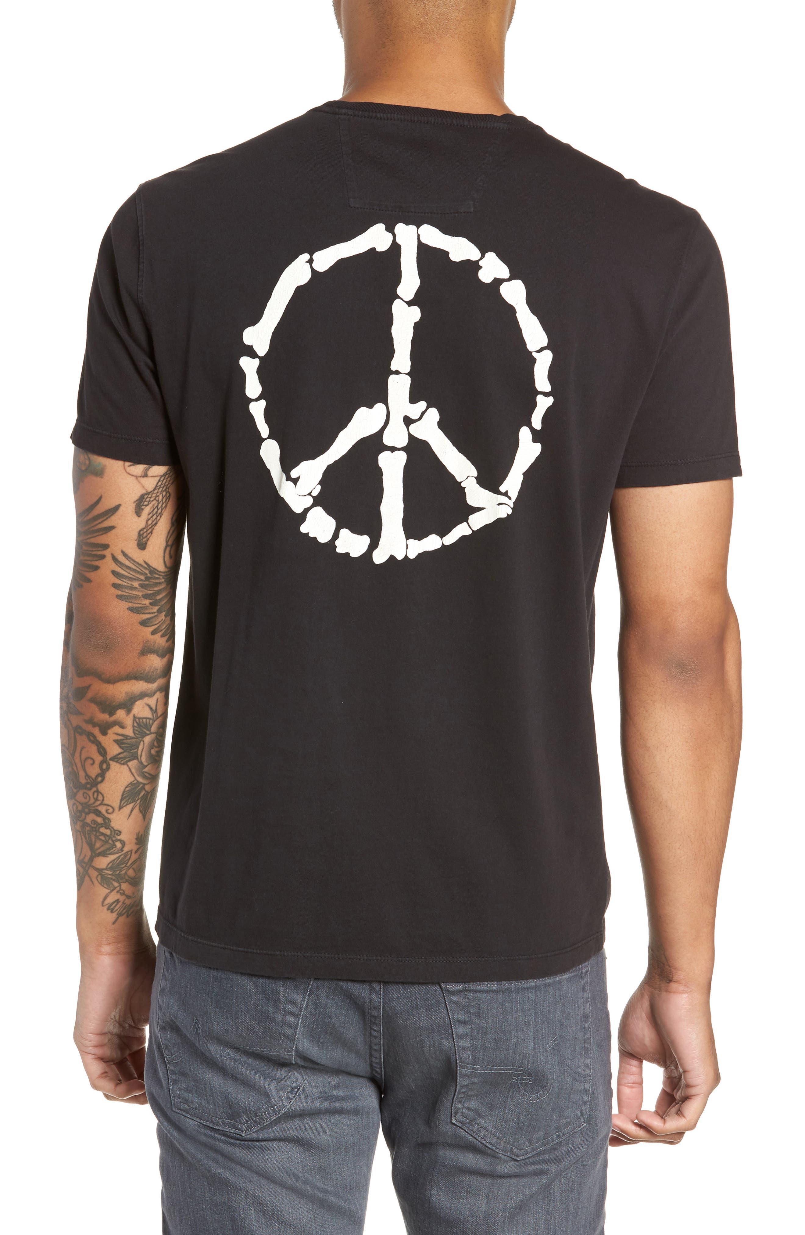 Skeleton Peace Graphic T-Shirt,                             Alternate thumbnail 2, color,                             BLACK