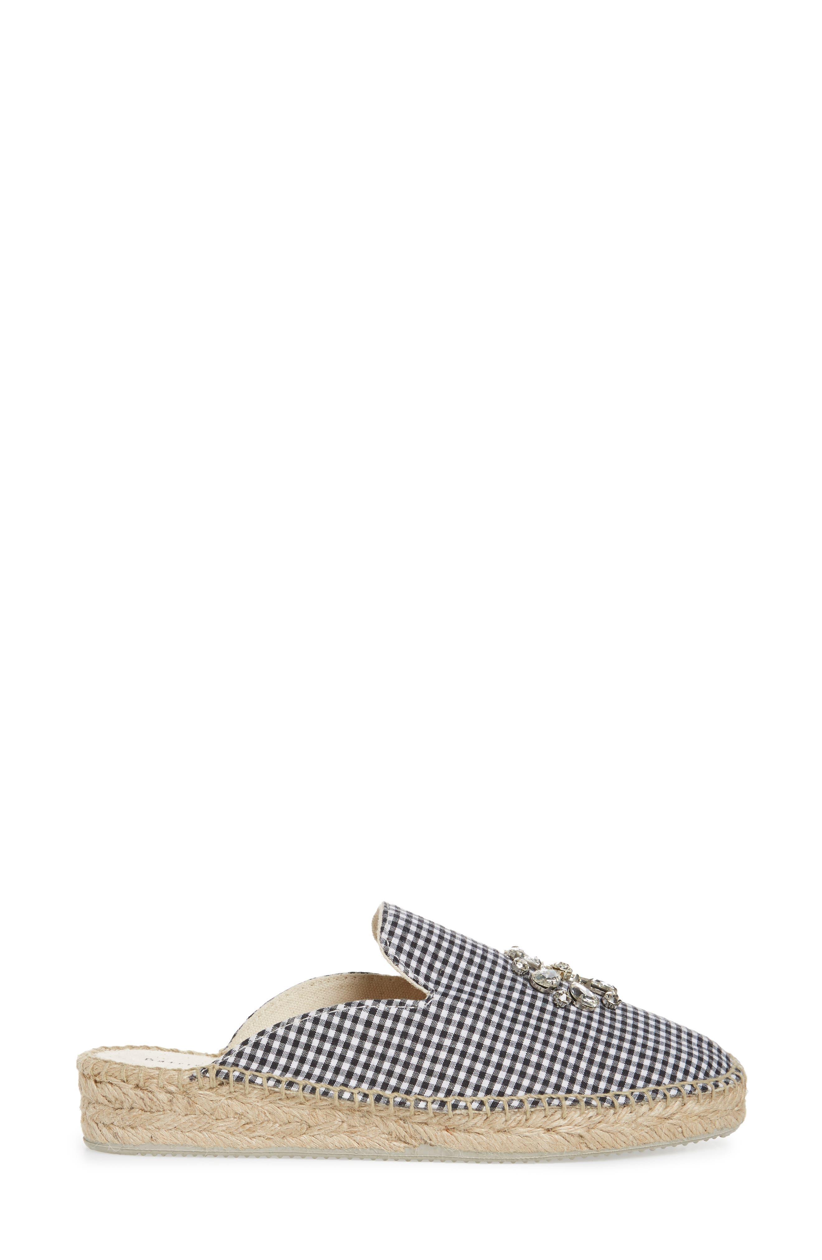 Gingham Glam Embellished Loafer Mule,                             Alternate thumbnail 3, color,                             BLACK FABRIC