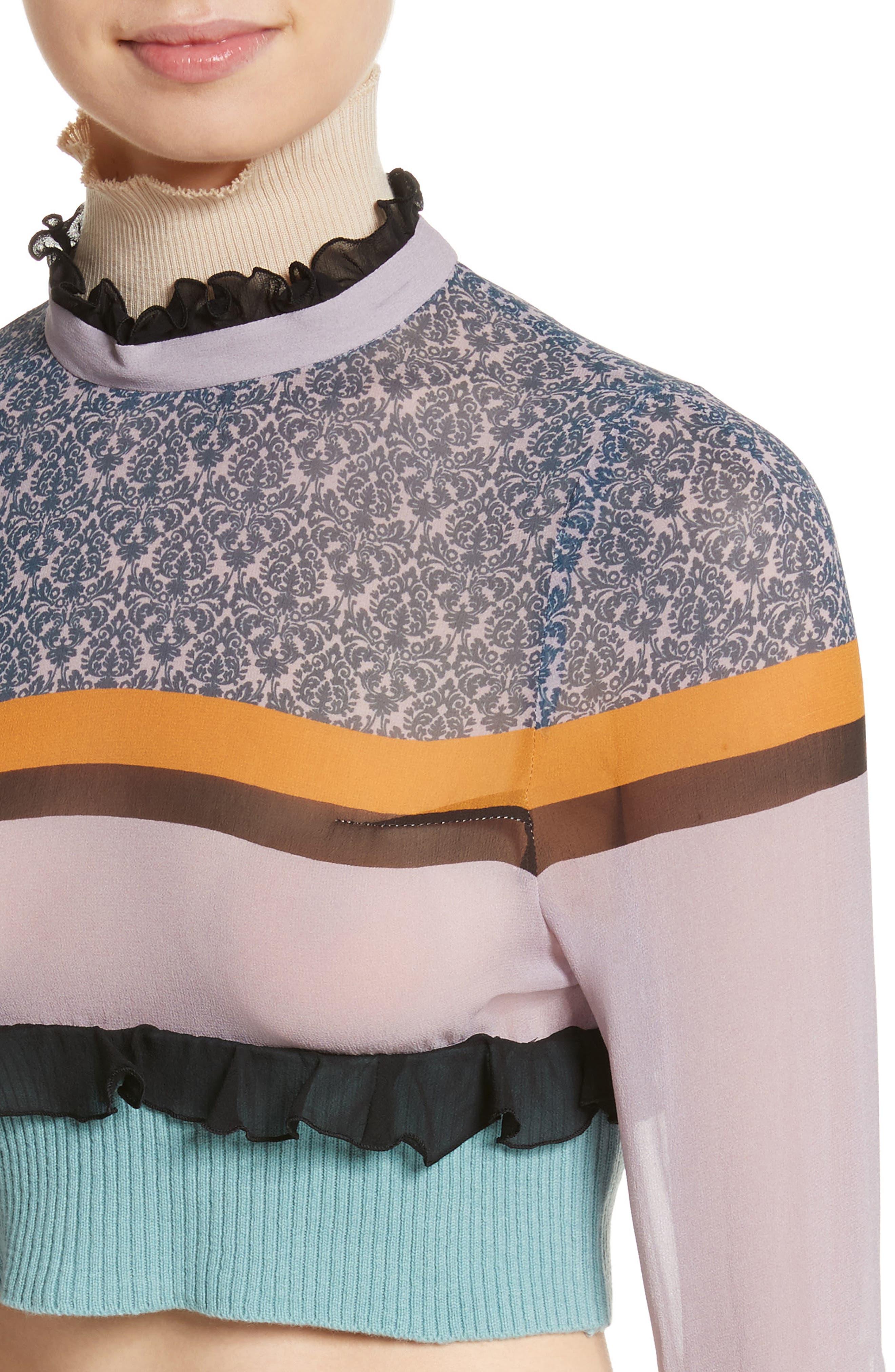 Stripe Silk Crop Top,                             Alternate thumbnail 4, color,                             500