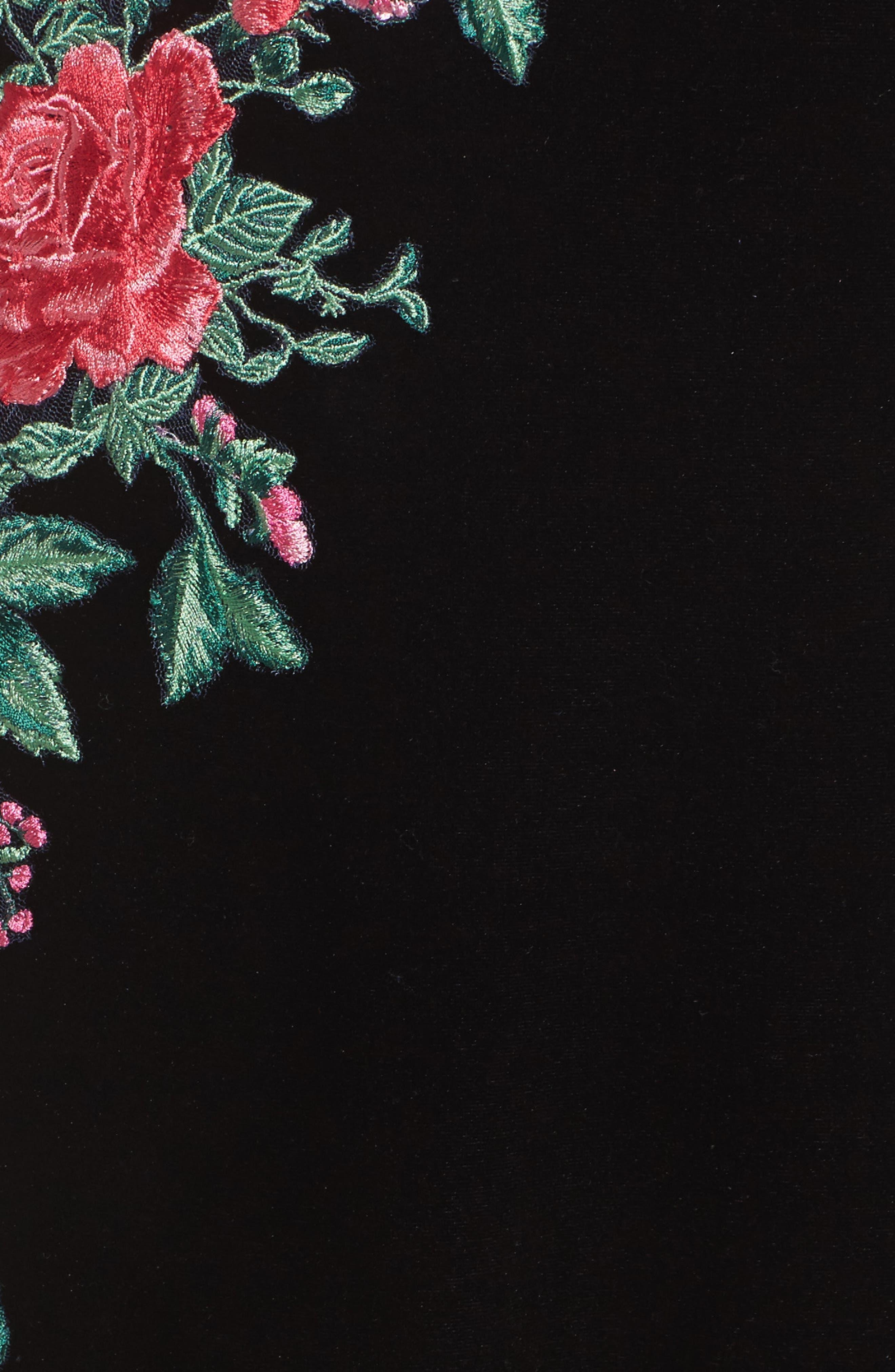 Embroidered Cold Shoulder Velvet Gown,                             Alternate thumbnail 5, color,                             BLACK