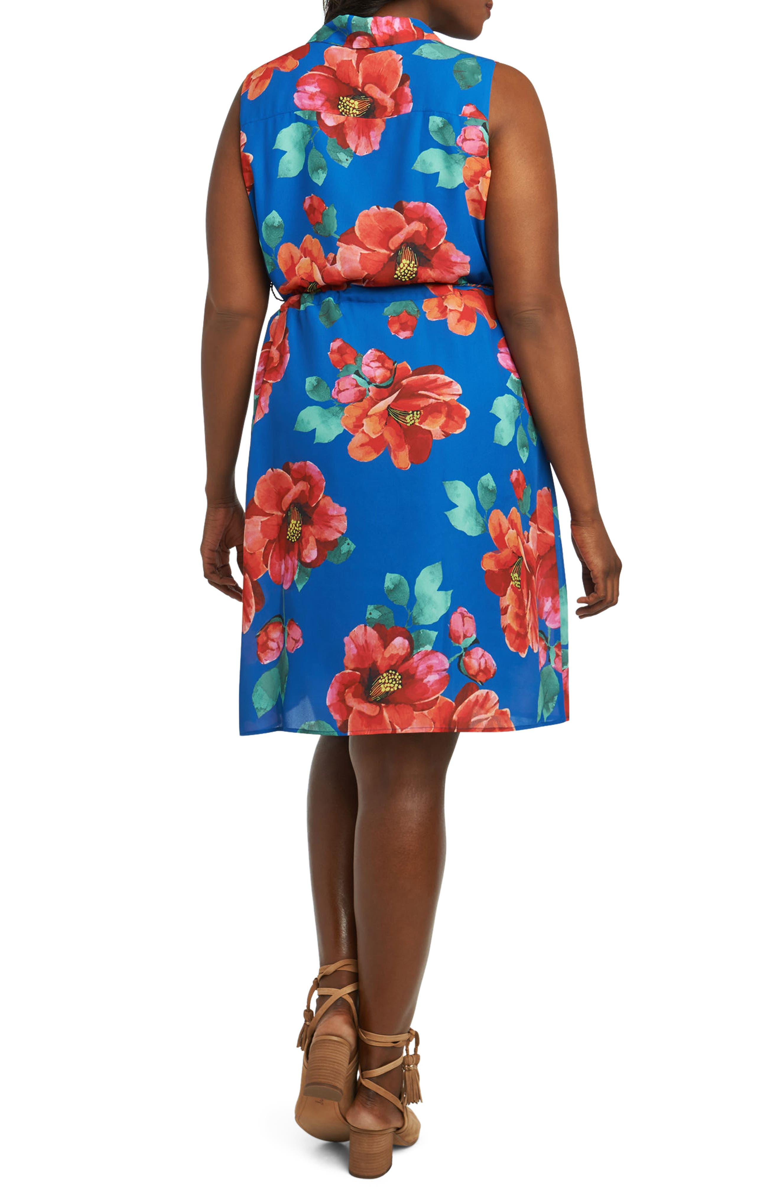 Adessia Hibiscus Floral Tassel Tie Dress,                             Alternate thumbnail 2, color,                             MULTI