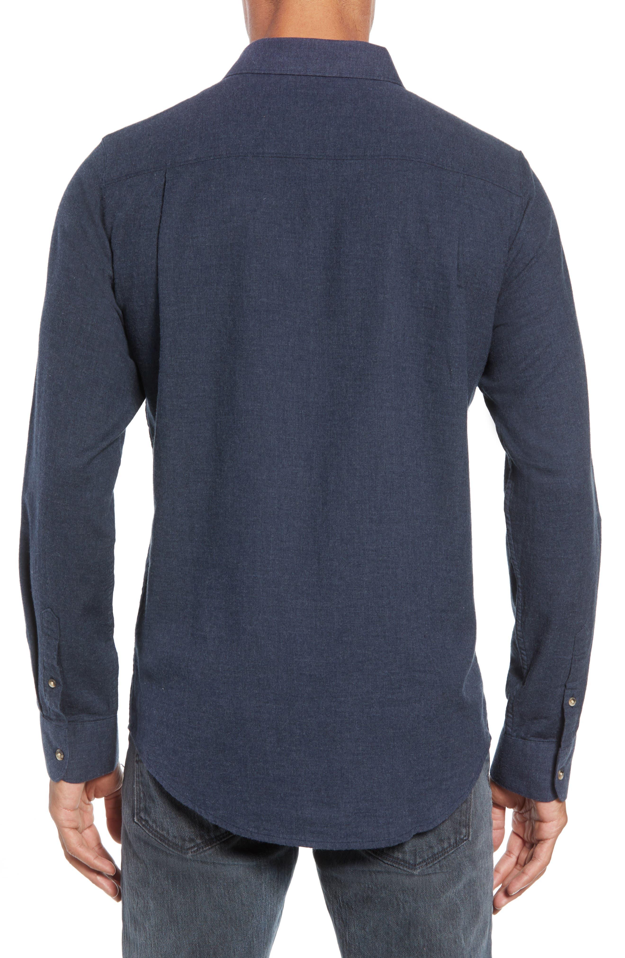 Hefe Regular Fit Flannel Sport Shirt,                             Alternate thumbnail 3, color,                             BLUE NIGHTS
