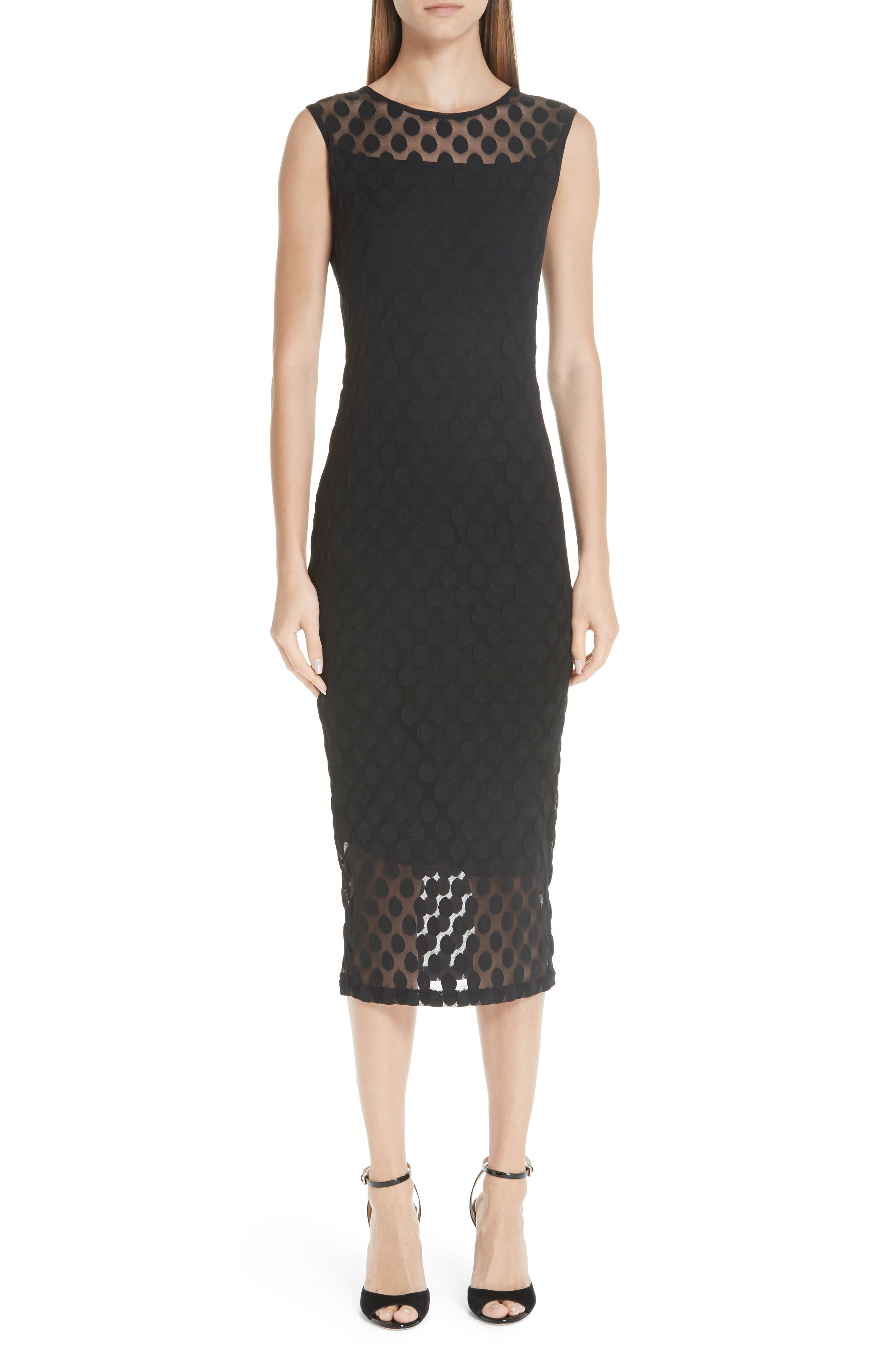 Fuzzi Dot Tulle Pencil Dress, Black