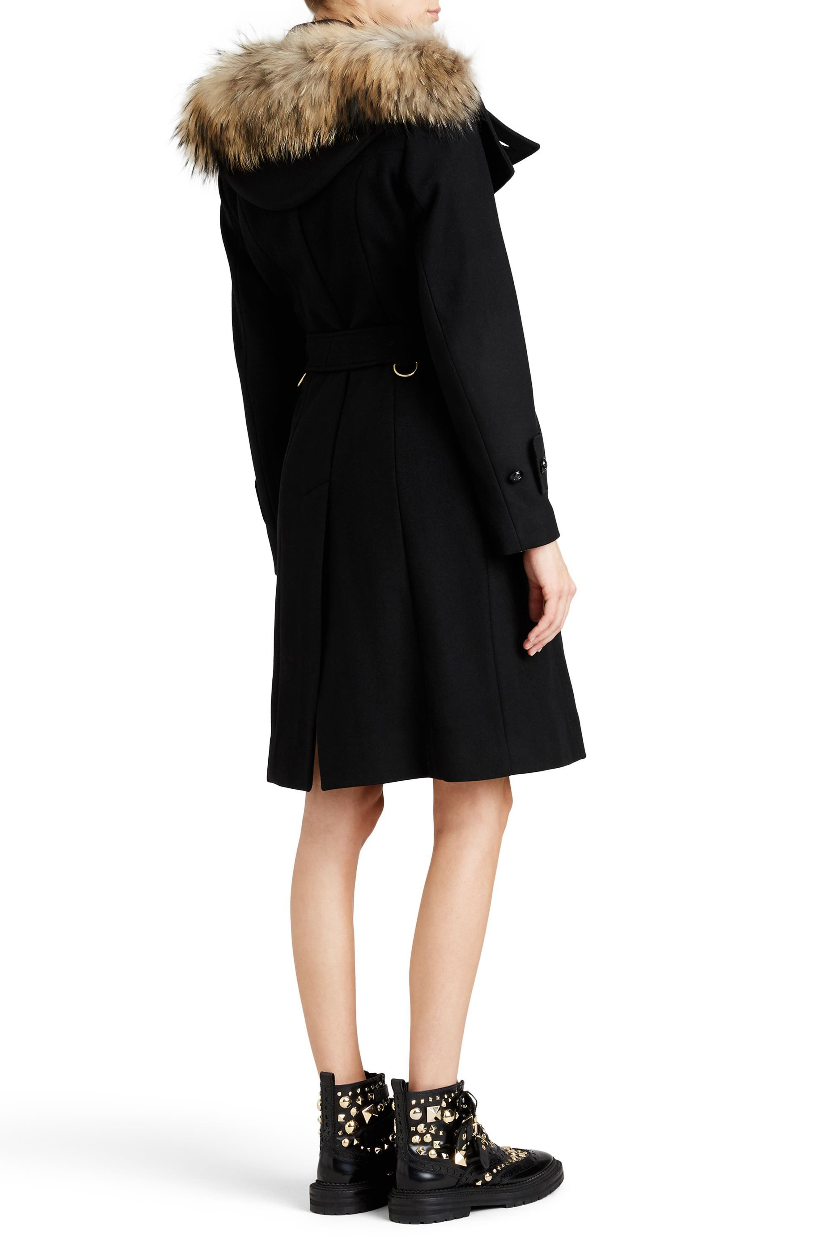 Claybrooke Wool Blend Coat with Removable Genuine Fox Fur Trim,                             Alternate thumbnail 8, color,                             001
