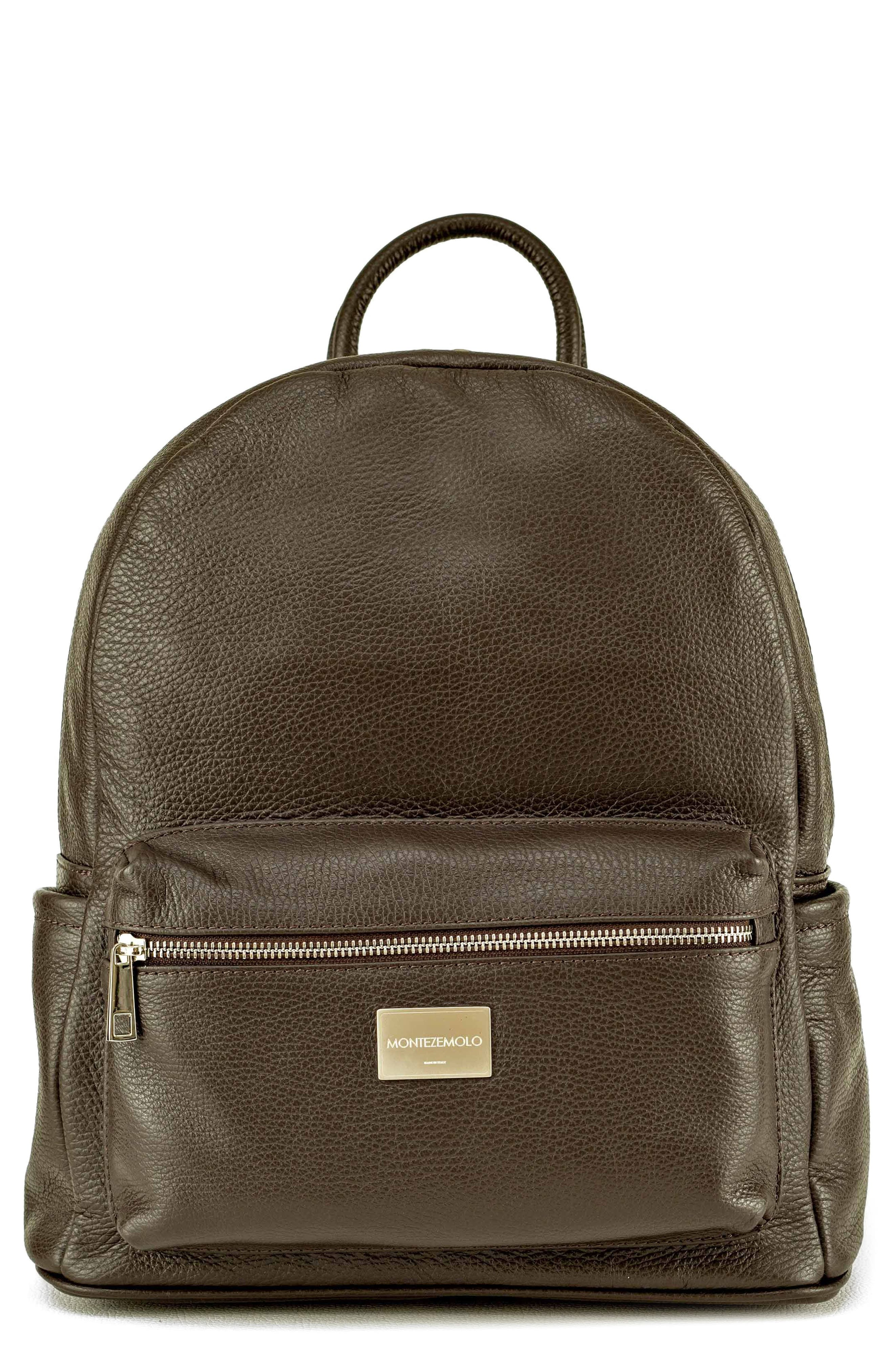 Leather Backpack,                         Main,                         color, MARRONE