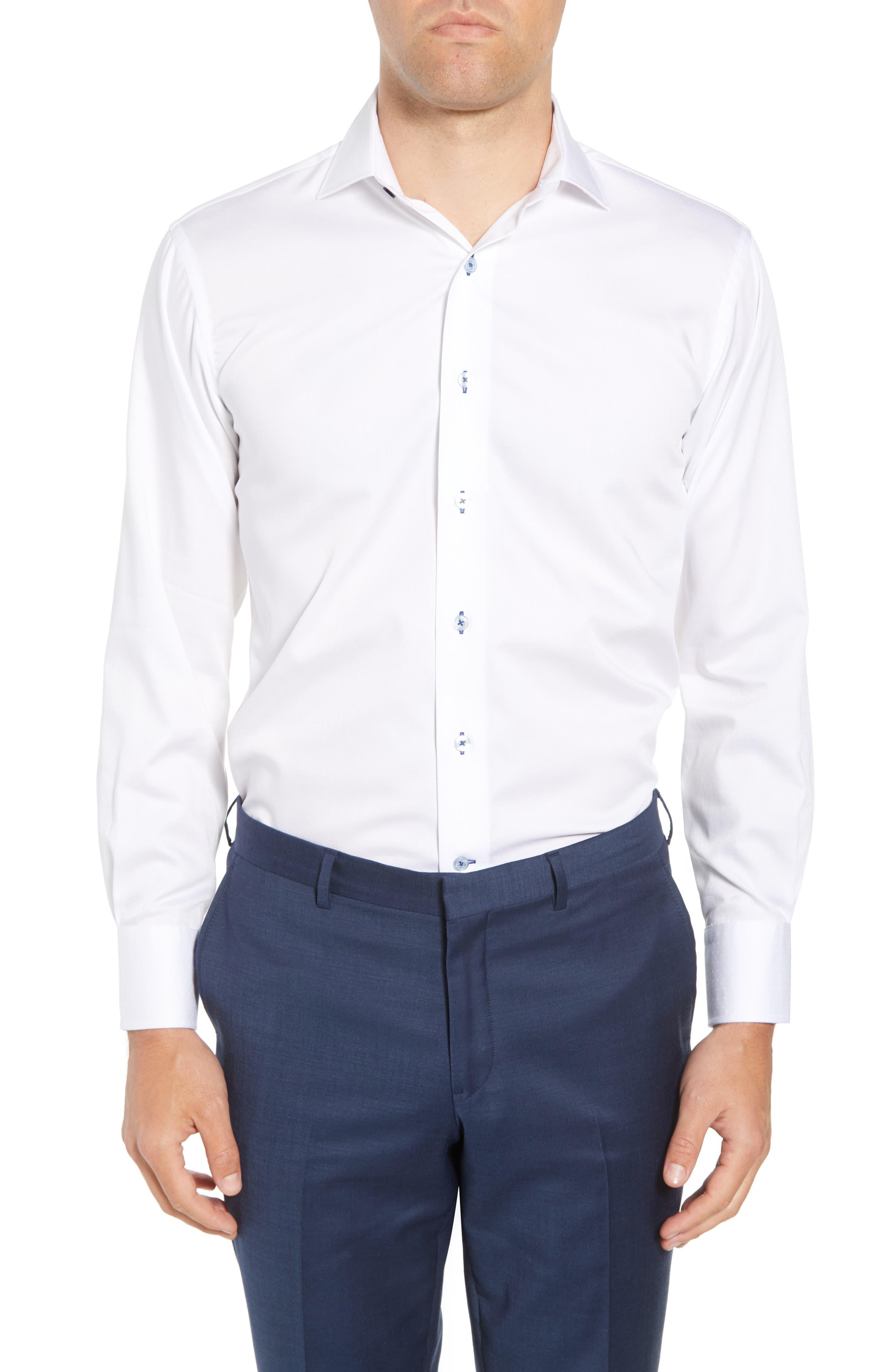 Trim Fit Dot Dress Shirt,                         Main,                         color, WHITE
