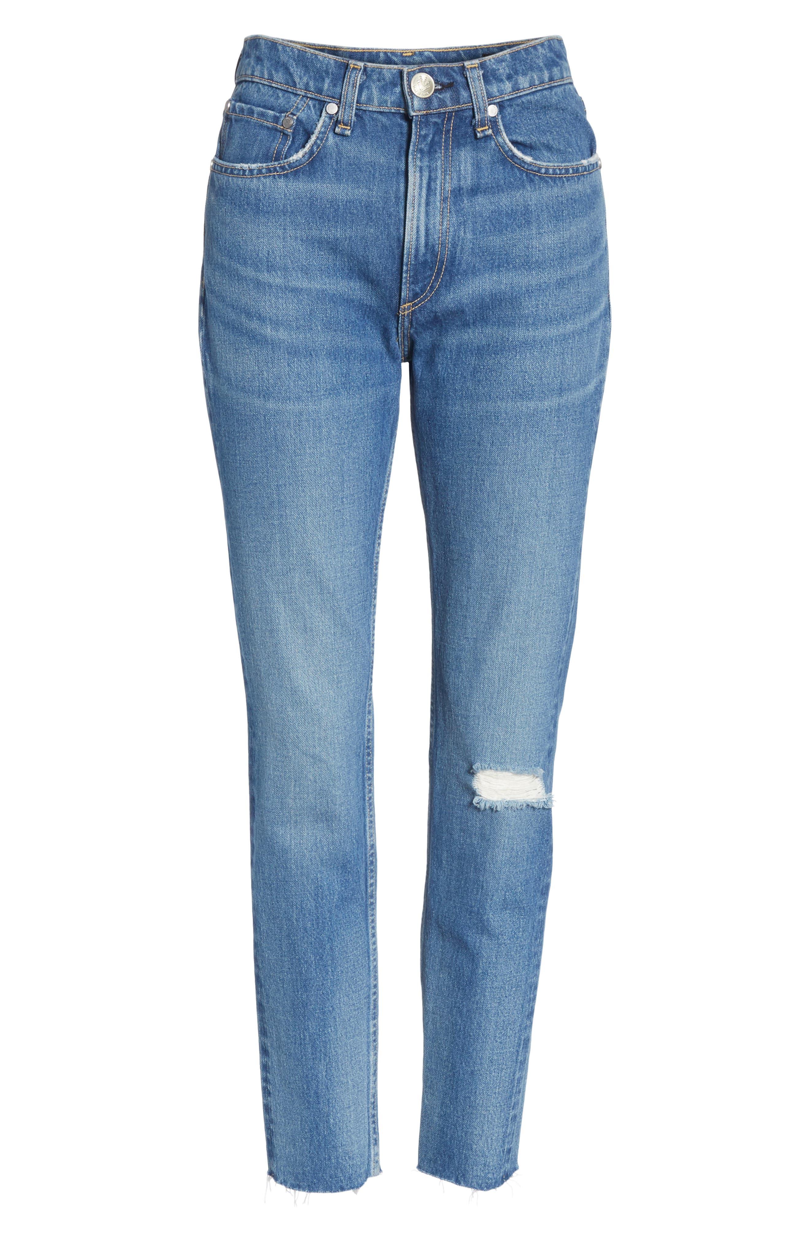 High Waist Ankle Skinny Jeans,                             Alternate thumbnail 7, color,                             420
