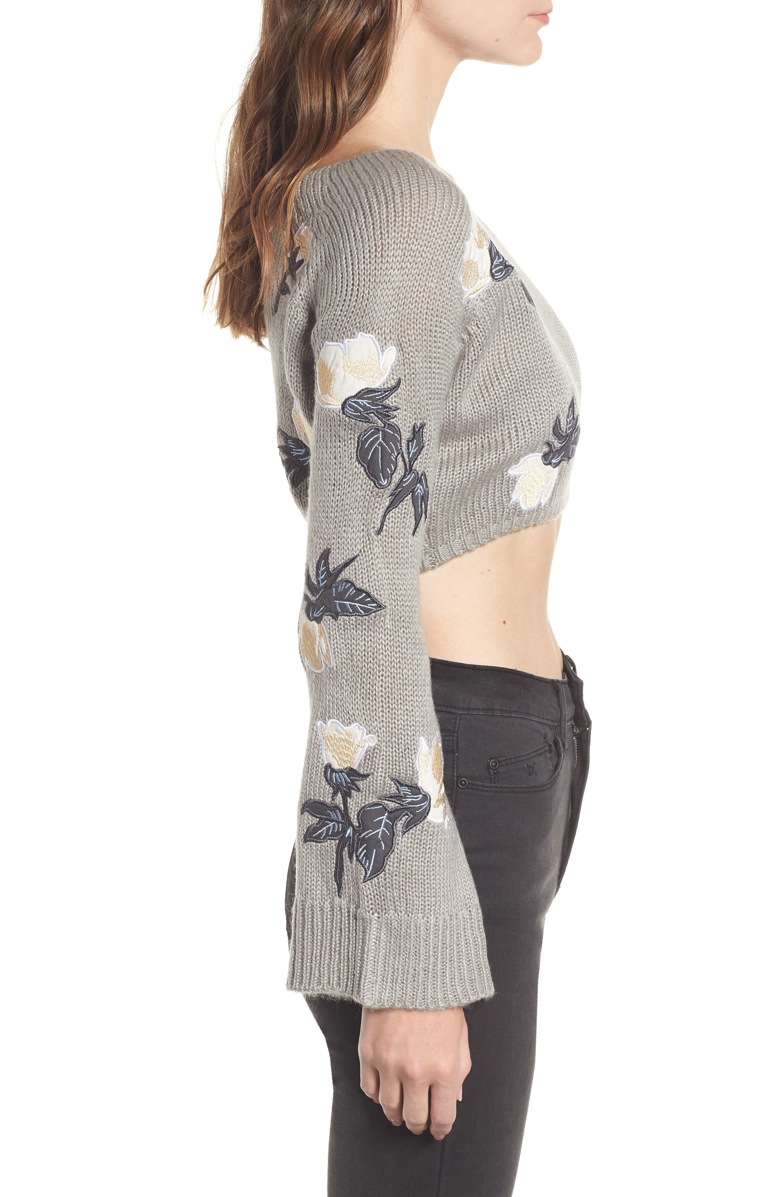 Floral Detail Bell Sleeve Crop Sweater,                             Alternate thumbnail 3, color,                             060